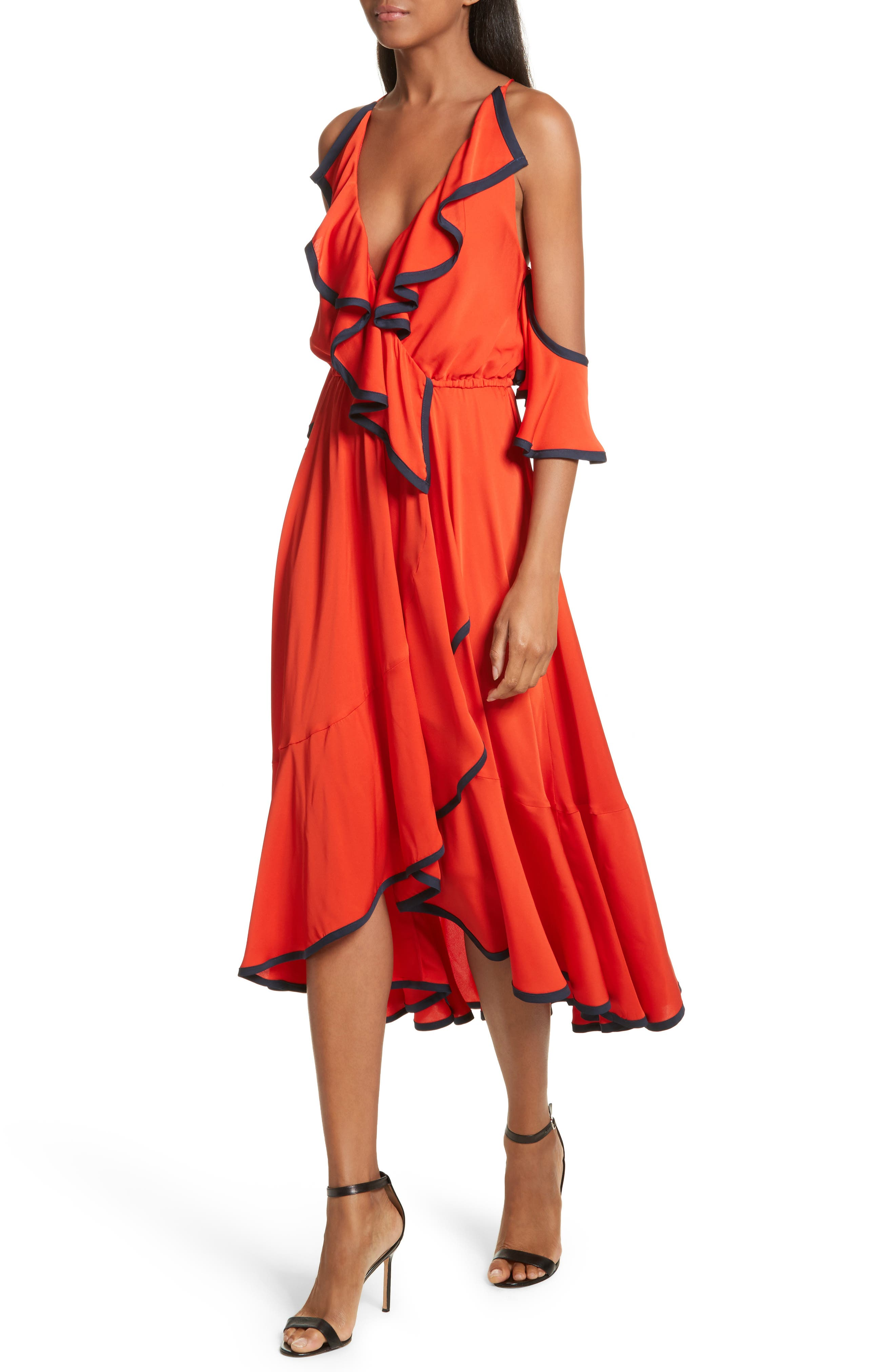 Bryce Ruffle Stretch Silk Fit & Flare Dress,                             Alternate thumbnail 4, color,                             635