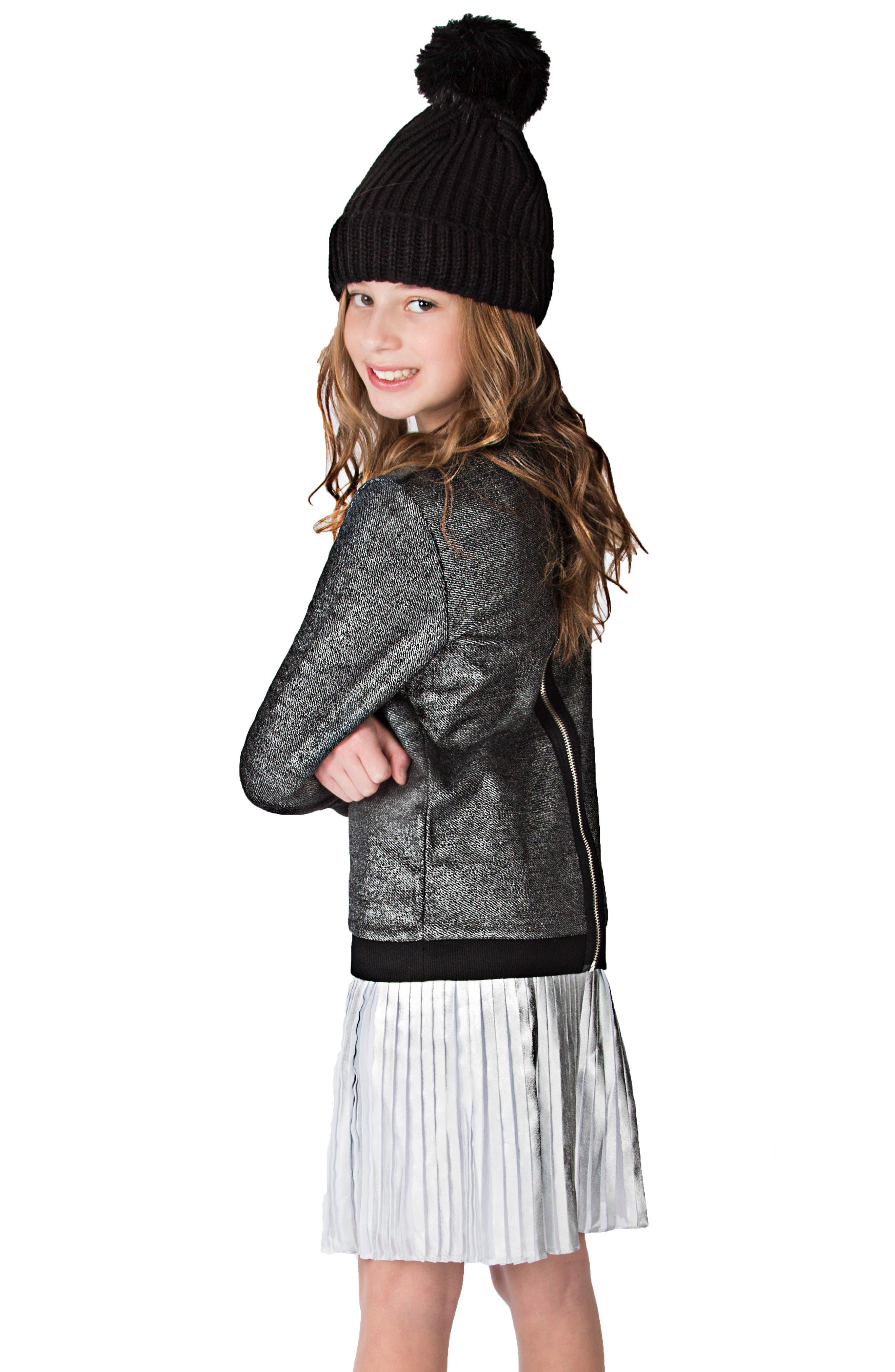 Pleated Metallic Skirt,                             Alternate thumbnail 2, color,                             040