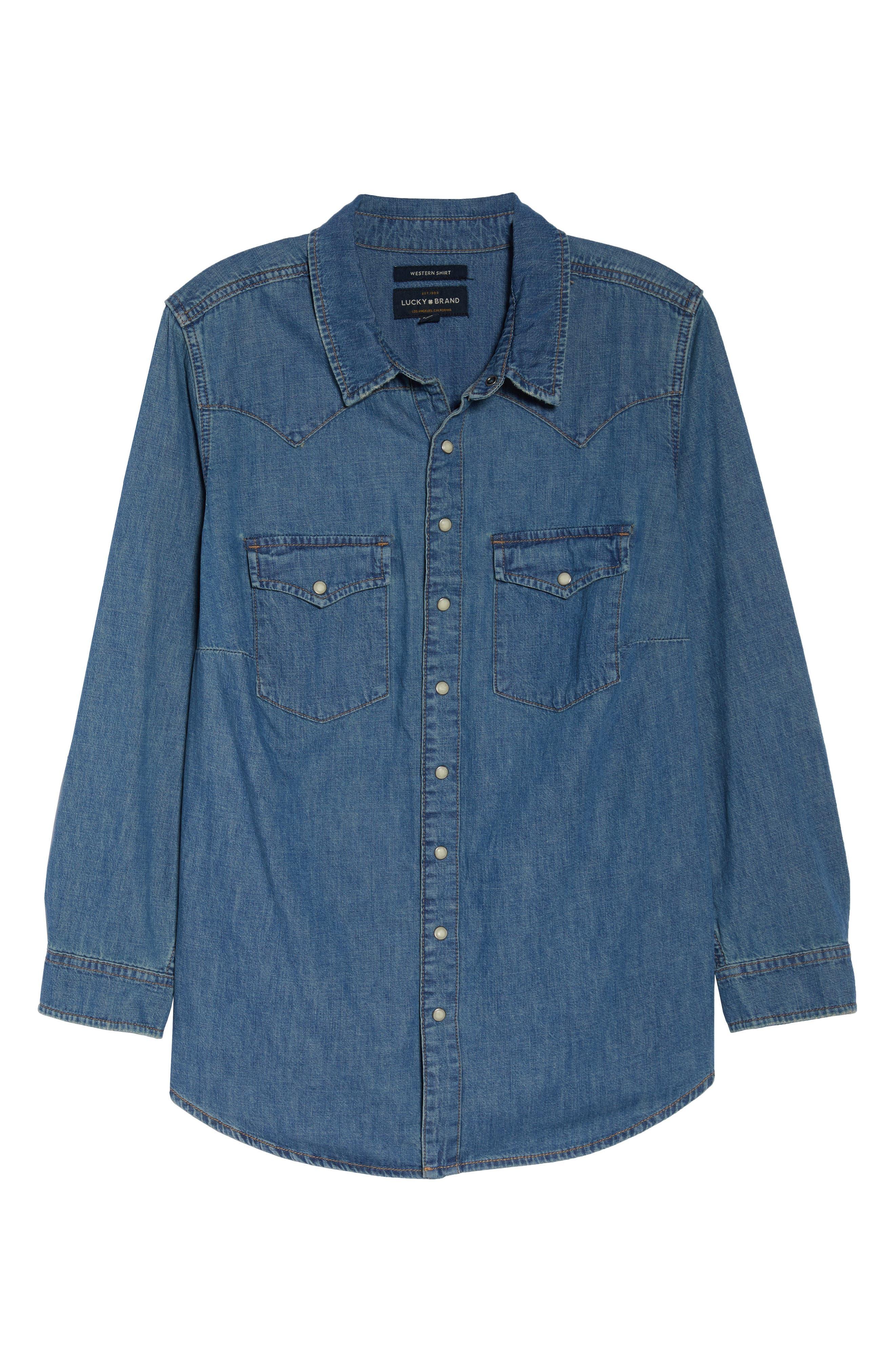 Chambray Western Shirt,                             Alternate thumbnail 6, color,                             CLAY