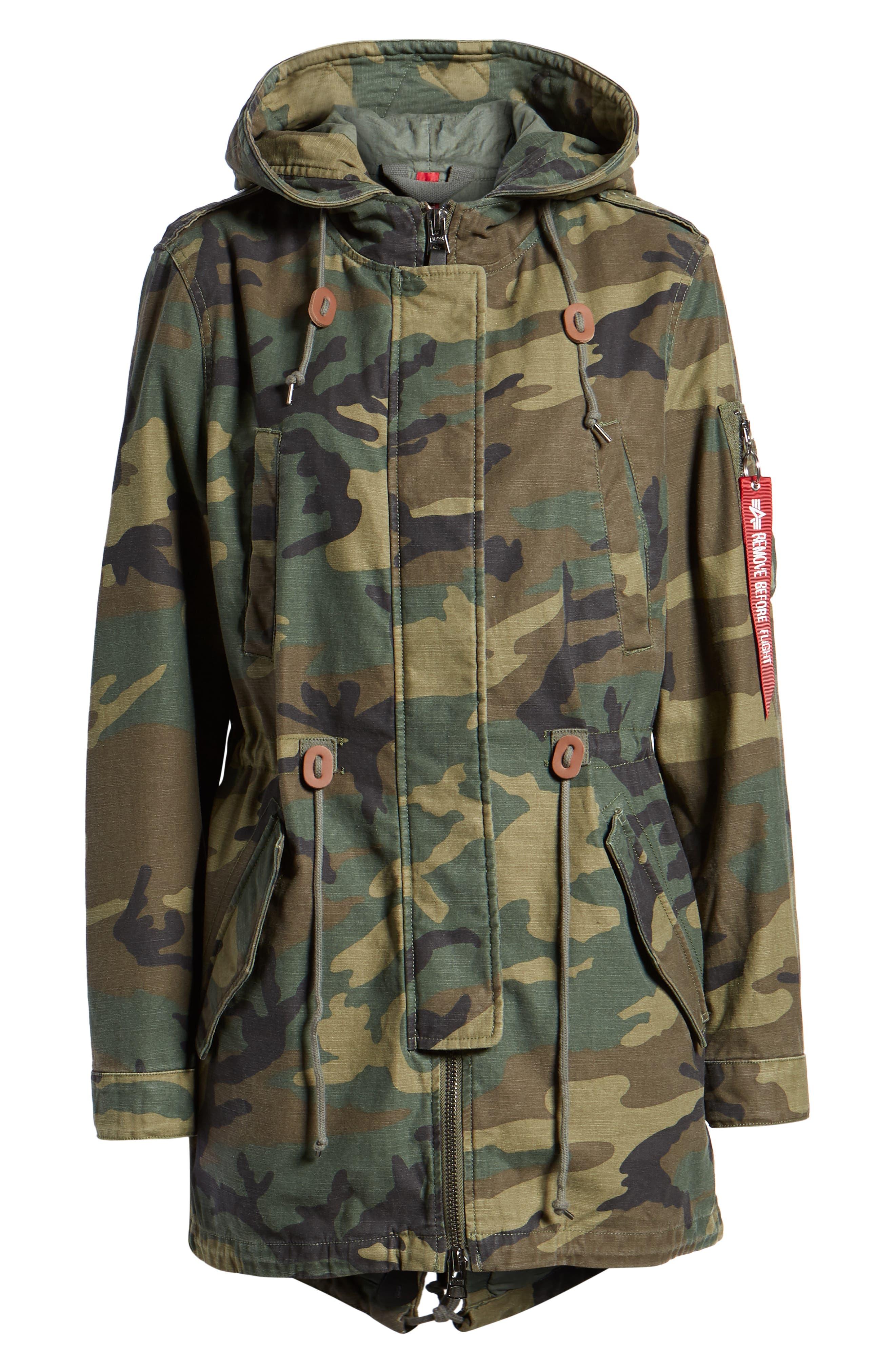 ALPHA INDUSTRIES,                             Meri Fishtail Hem Field Jacket,                             Alternate thumbnail 6, color,                             303