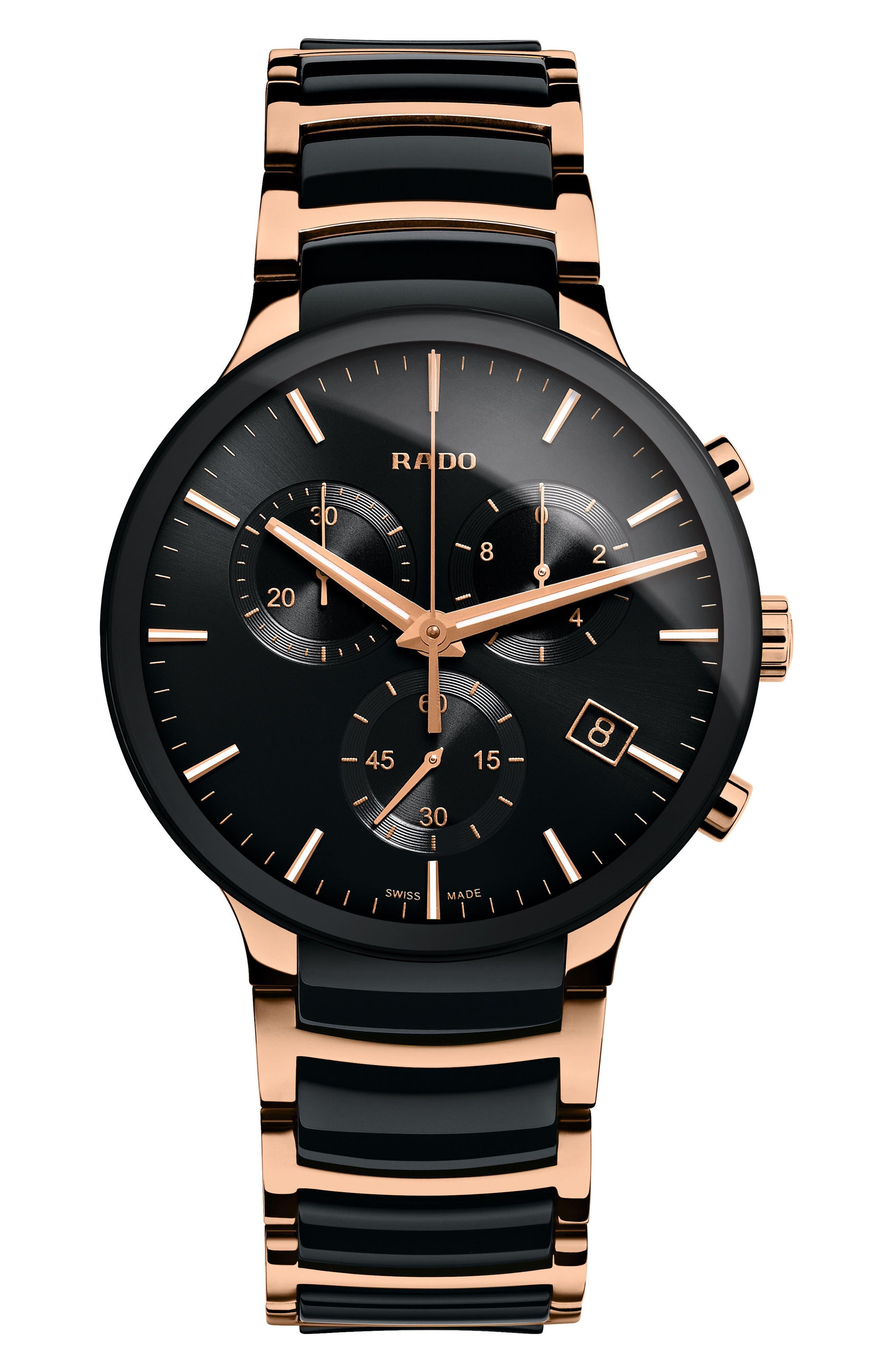 Centrix Chronograph Ceramic Bracelet Watch, 40mm,                         Main,                         color, BLACK/ ROSE GOLD