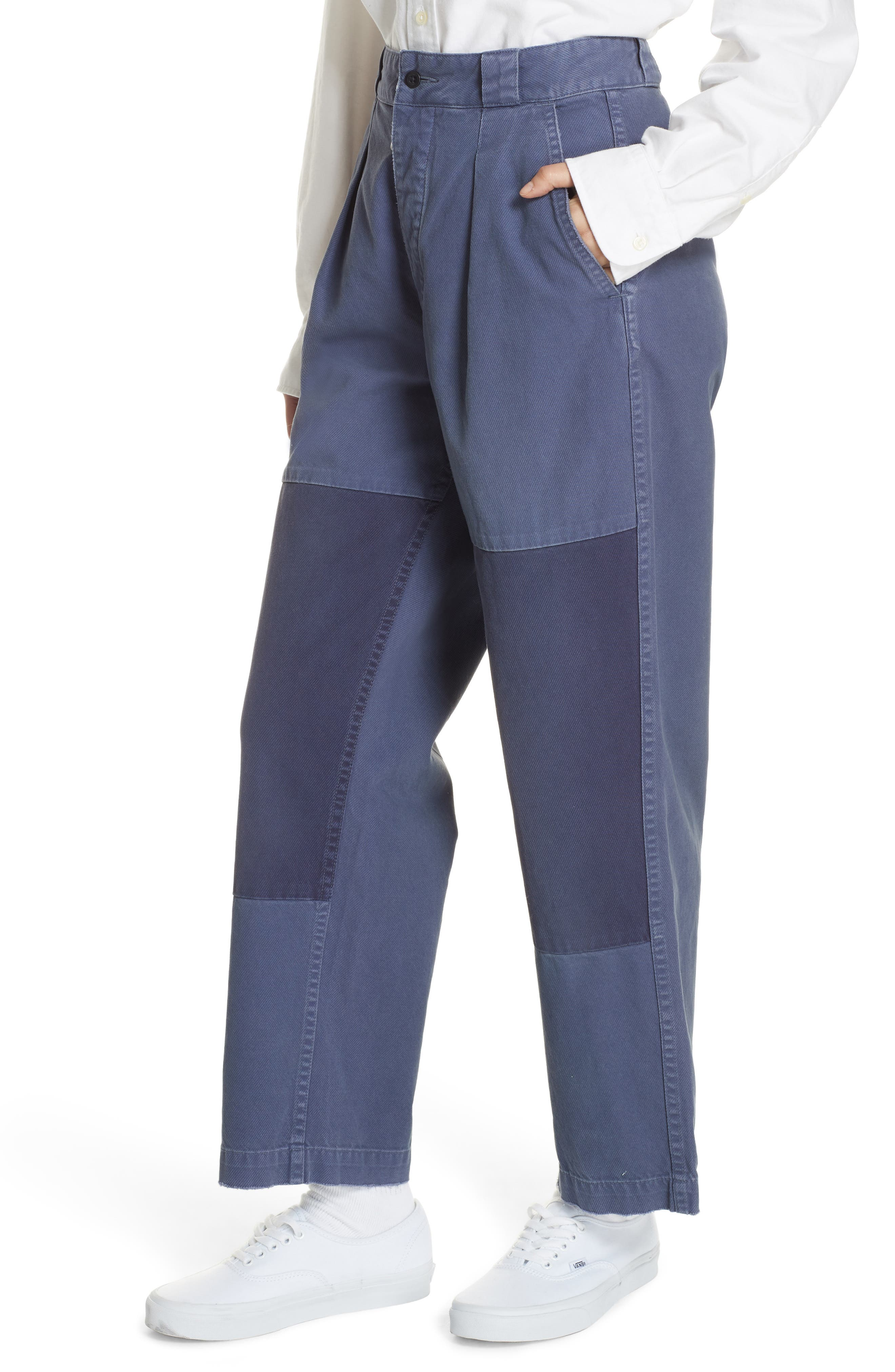 Patched Wide Leg Pants,                             Alternate thumbnail 4, color,                             NEW CLASSIC NAVY/ LIGHT NAVY