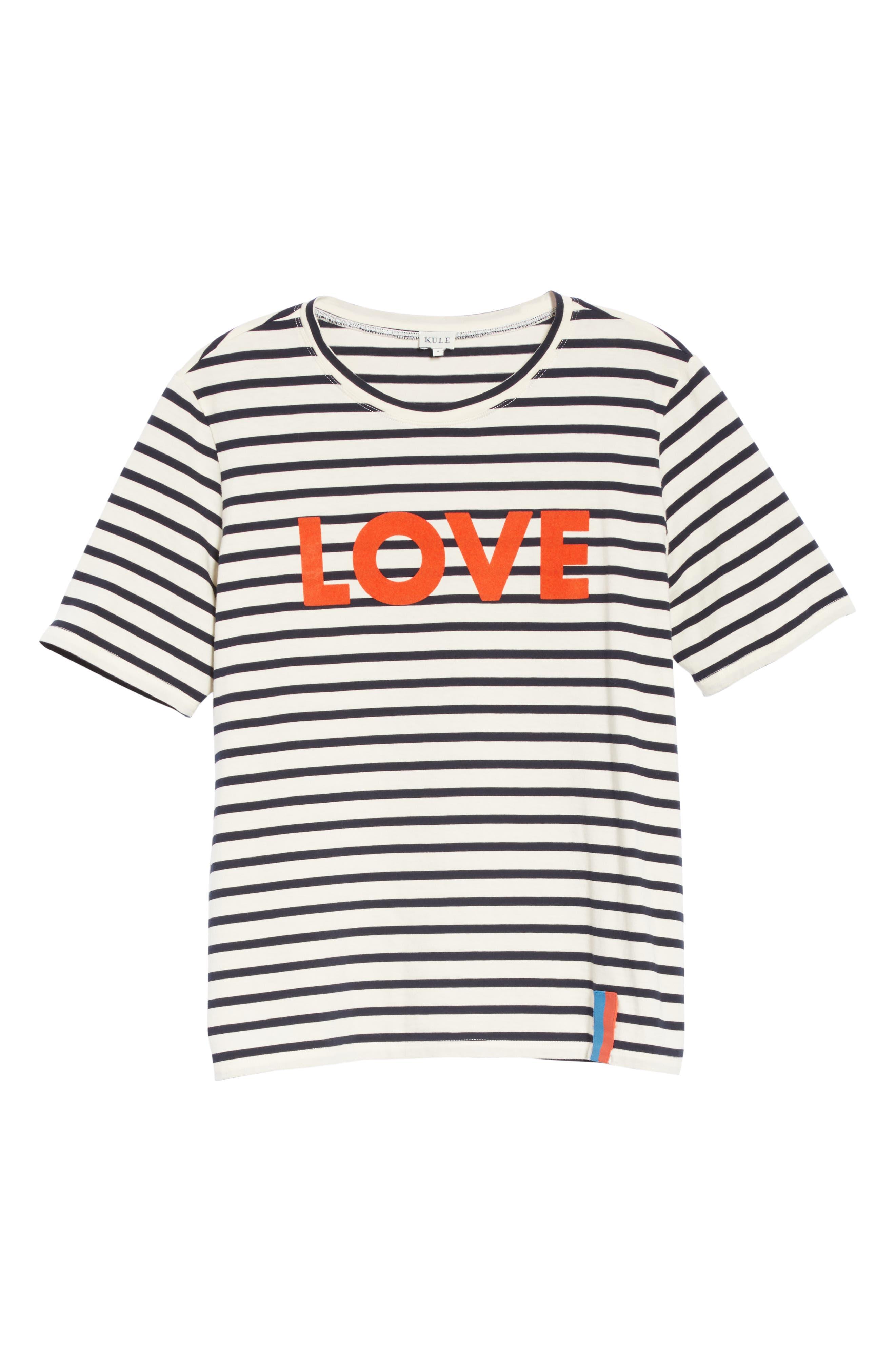 The Modern Love Stripe Tee,                             Alternate thumbnail 6, color,                             CREAM/ NAVY
