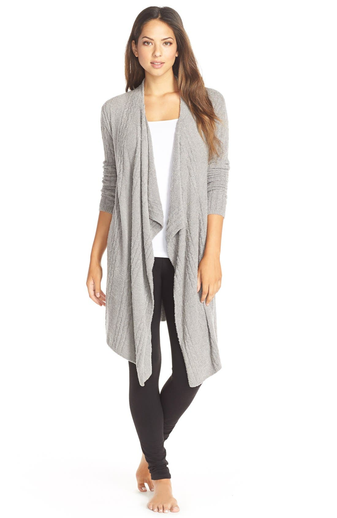 BAREFOOT DREAMS<SUP>®</SUP> Cable Knit Drape Front Cardigan, Main, color, 035