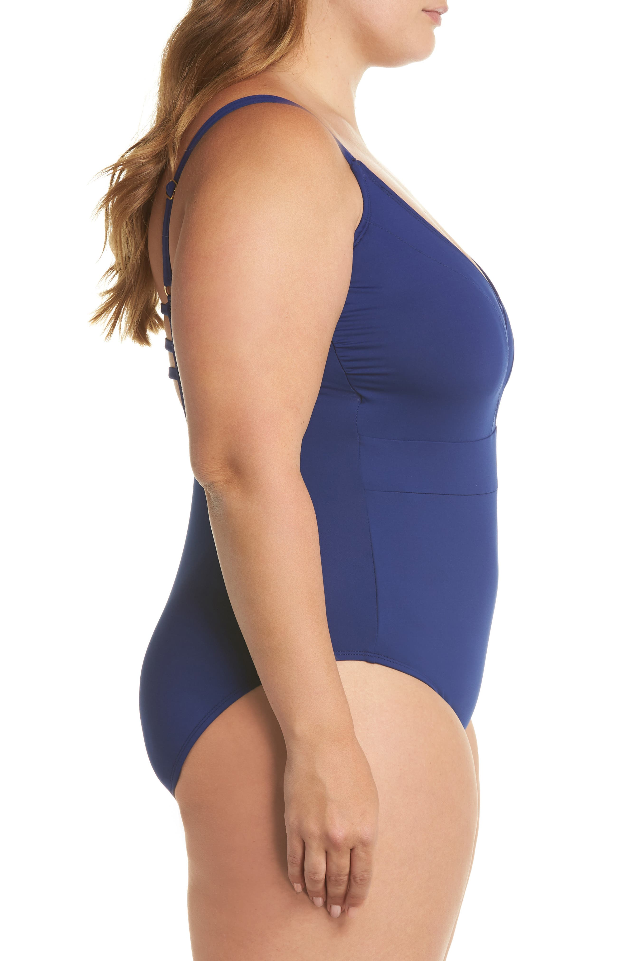 Plunge One-Piece Swimsuit,                             Alternate thumbnail 3, color,                             MIDNIGHT