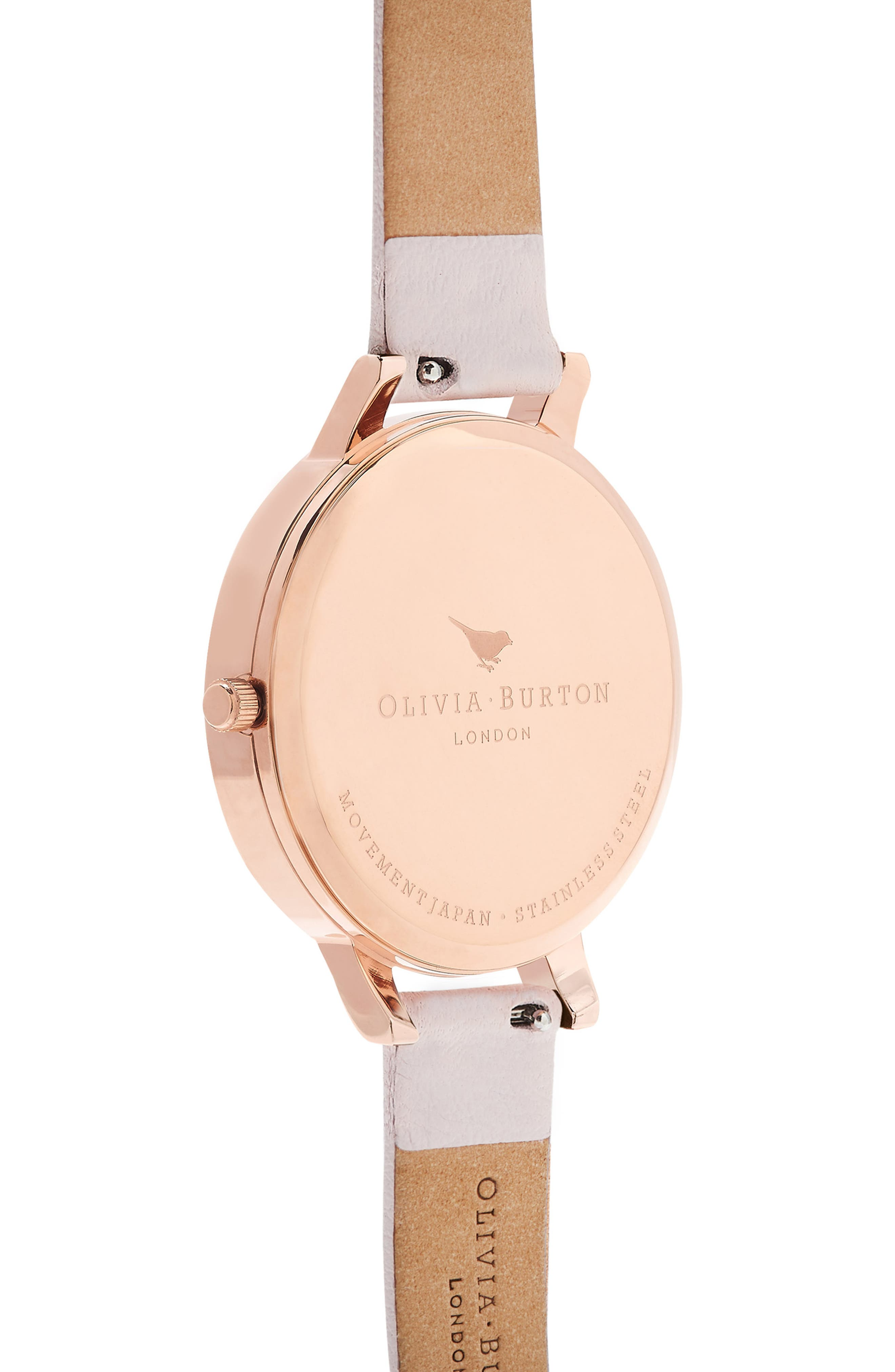 Artisan Dial Leather Strap Watch, 38mm,                             Alternate thumbnail 3, color,                             BLOSSOM/ WHITE/ ROSE GOLD