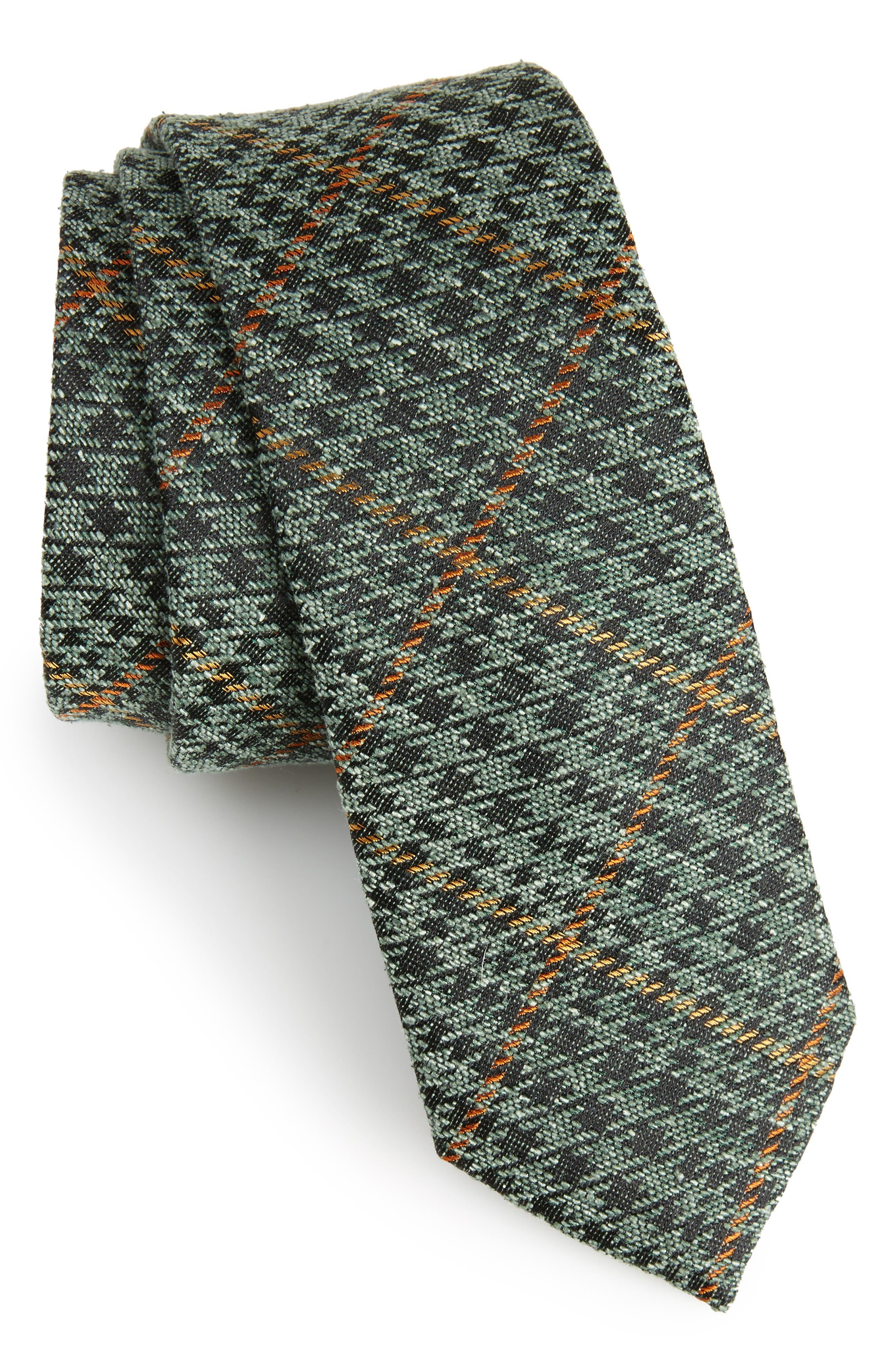 THE TIE BAR Quinn Plaid Silk Skinny Tie, Main, color, 300