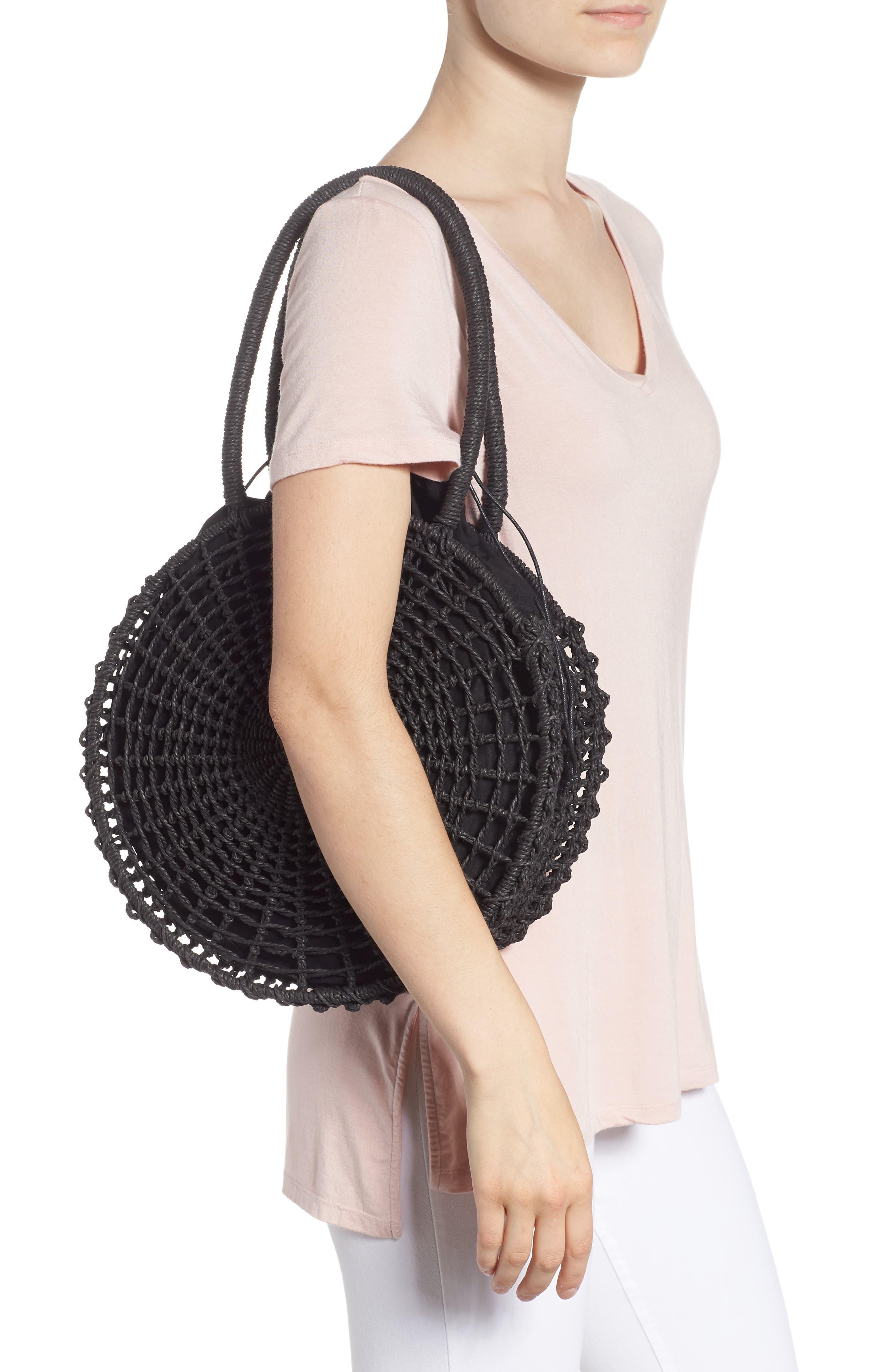 Bella Straw Circle Tote Handbag,                             Alternate thumbnail 2, color,                             BLACK