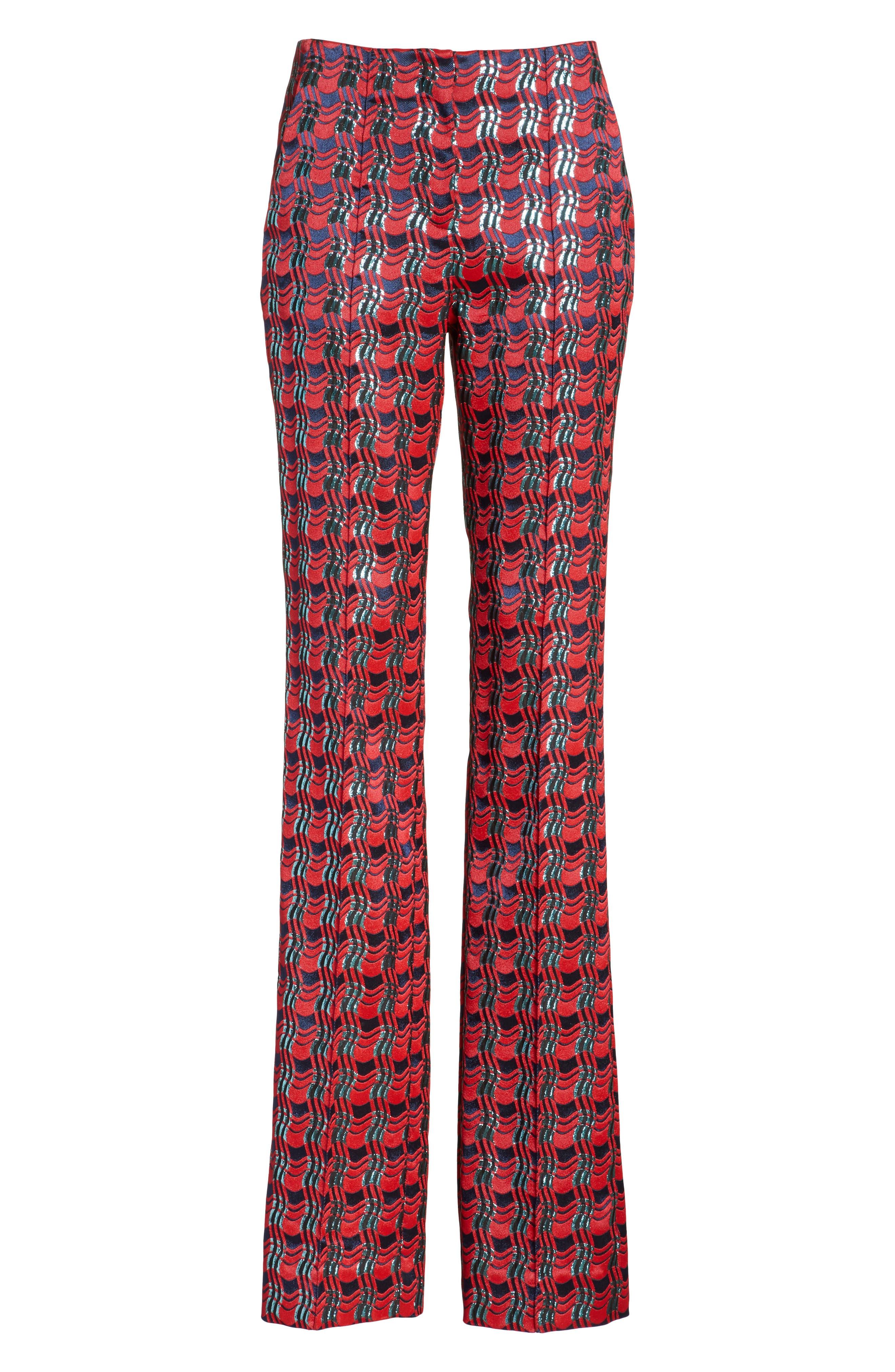 Pleat Front Jacquard Pants,                             Alternate thumbnail 6, color,                             601