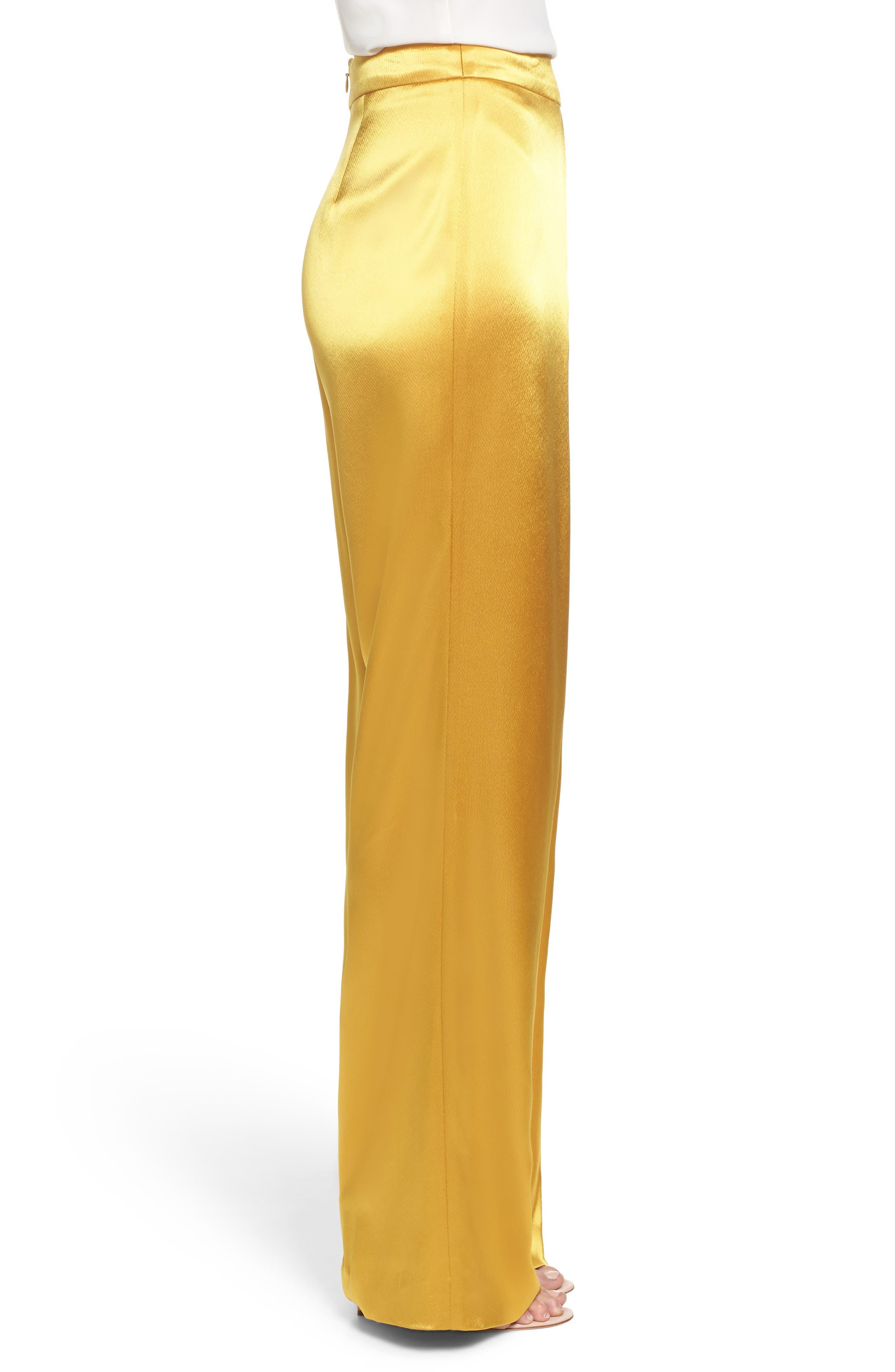 Fancy Pleated Front Satin Pants,                             Alternate thumbnail 3, color,                             700