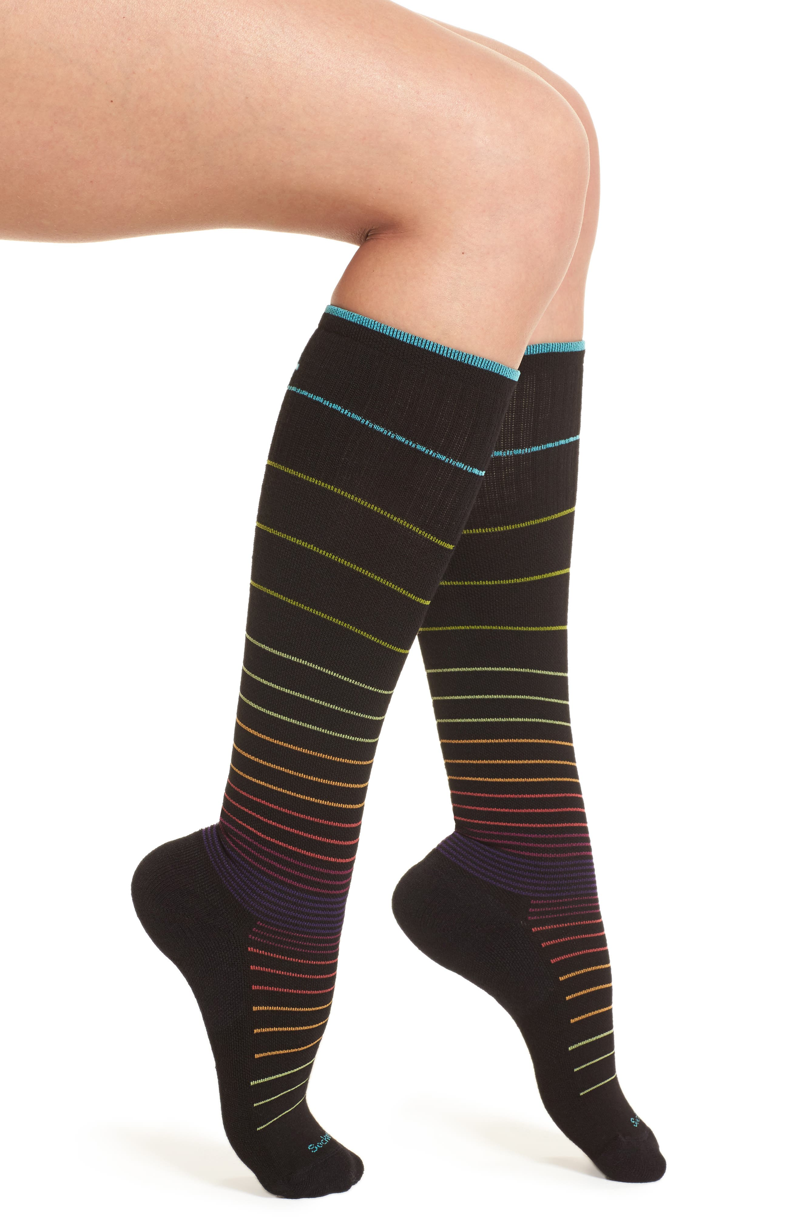 Circulator Compression Socks,                             Alternate thumbnail 2, color,                             BLACK STRIPE