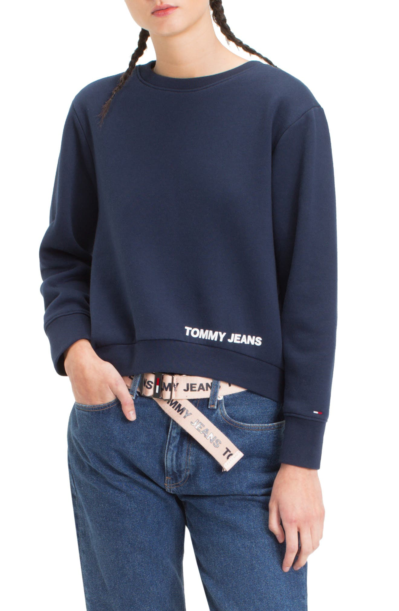 TOMMY JEANS,                             TJW Clean Logo Sweatshirt,                             Main thumbnail 1, color,                             002