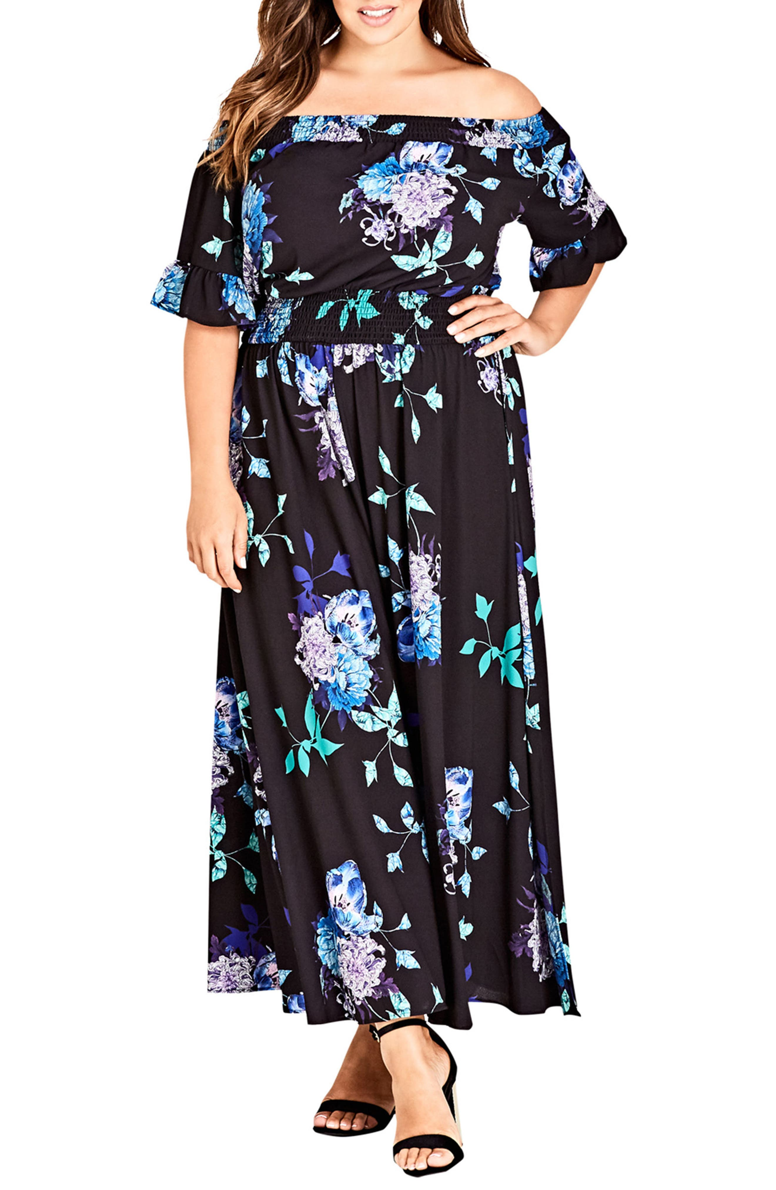 Suzu Floral Maxi Off the Shoulder Dress,                             Main thumbnail 1, color,                             SUZU FLORAL