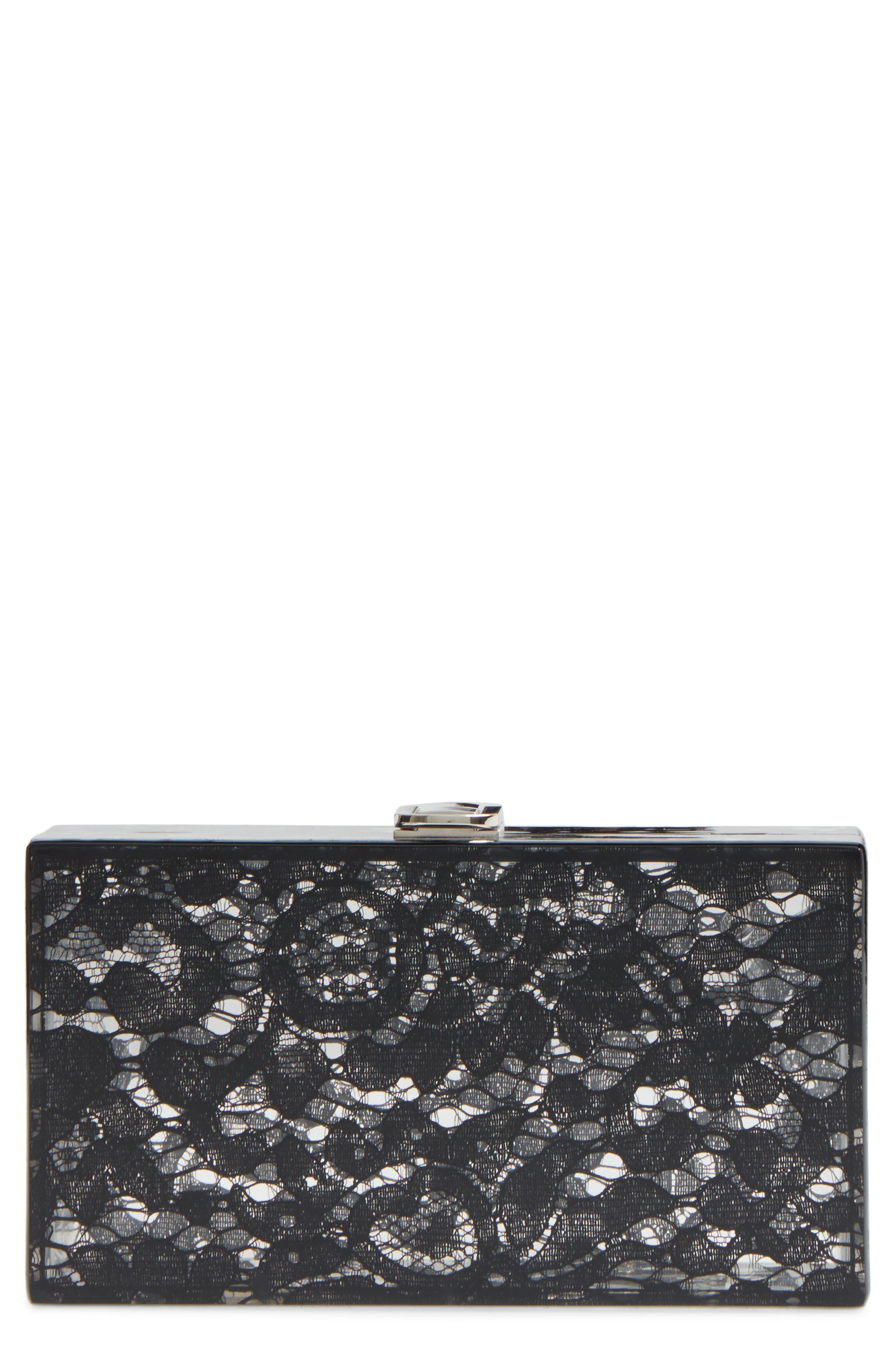 Transparent Lace Box Clutch,                             Main thumbnail 1, color,                             001