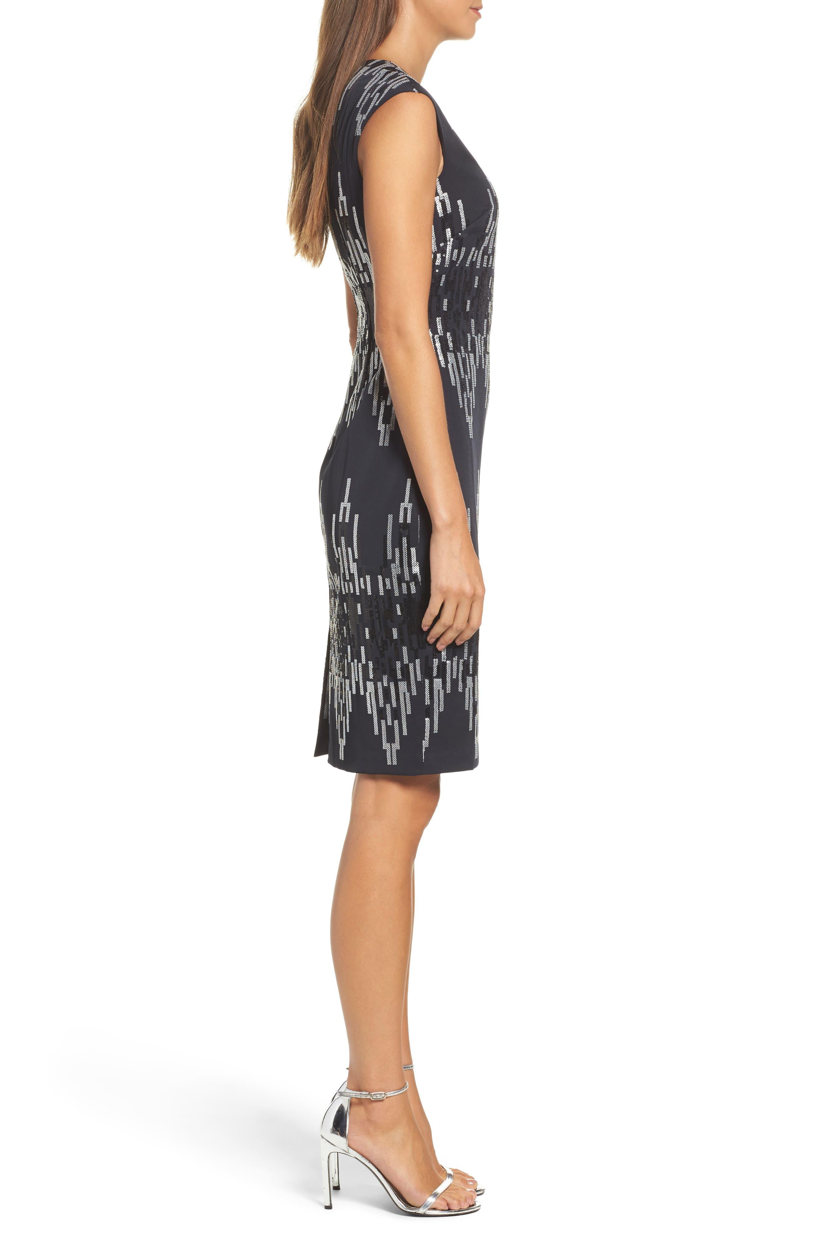 Sequin Body-Con Dress,                             Alternate thumbnail 3, color,                             016