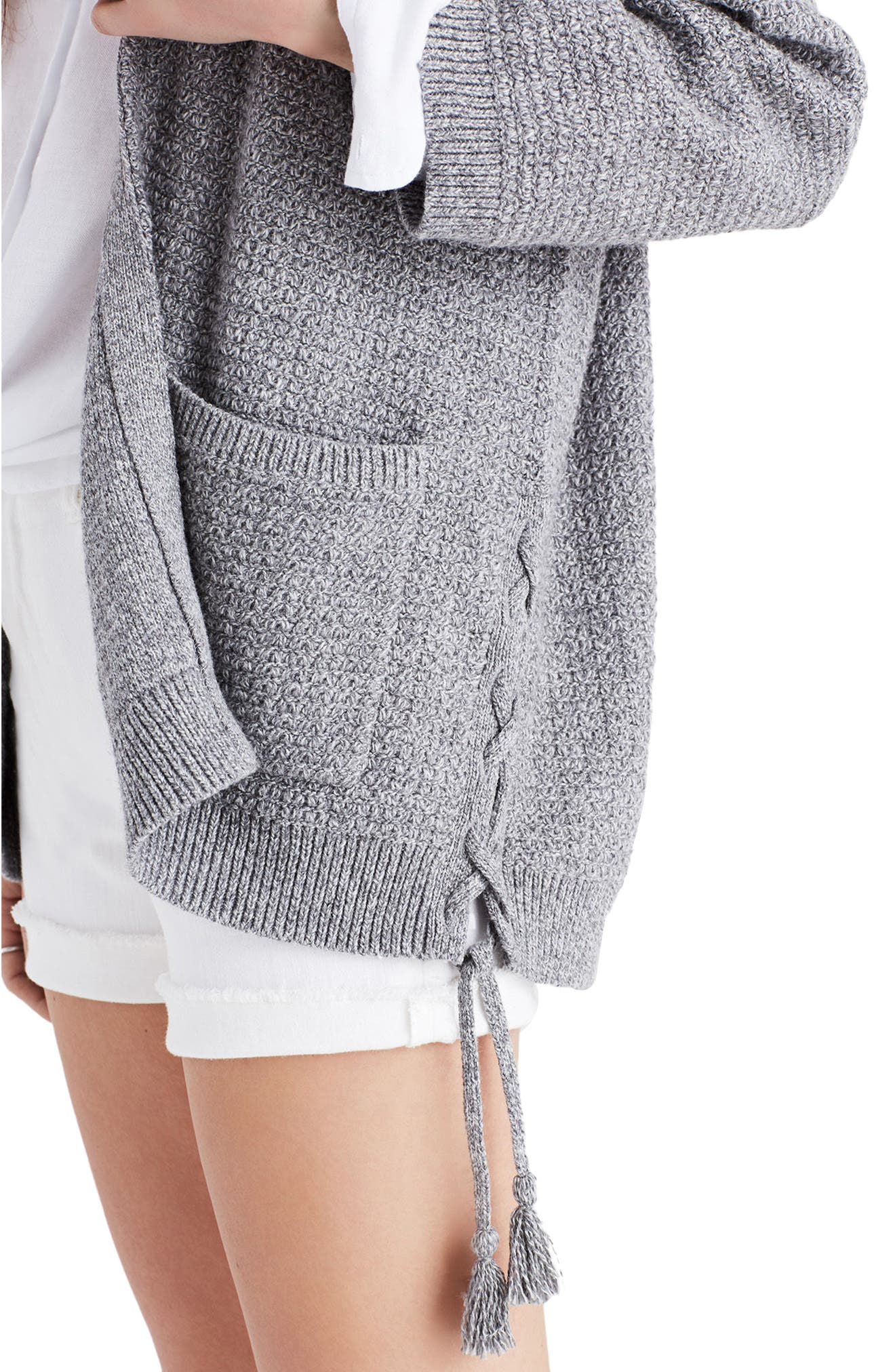 Side Lace-Up Cardigan,                             Alternate thumbnail 3, color,                             020
