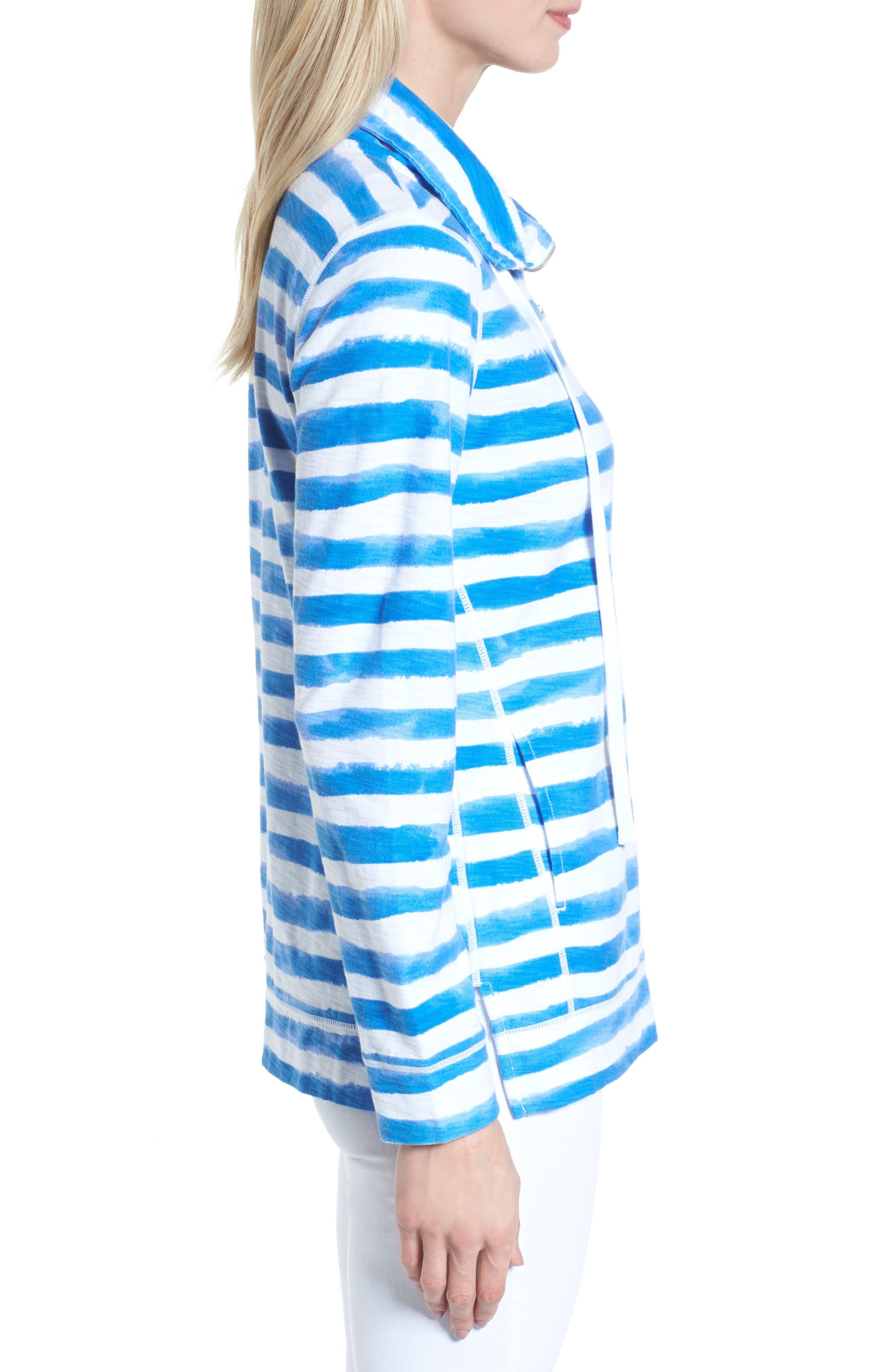 Knoll Bellarossa Stripe Front Zip Jacket,                             Alternate thumbnail 3, color,                             COBALT