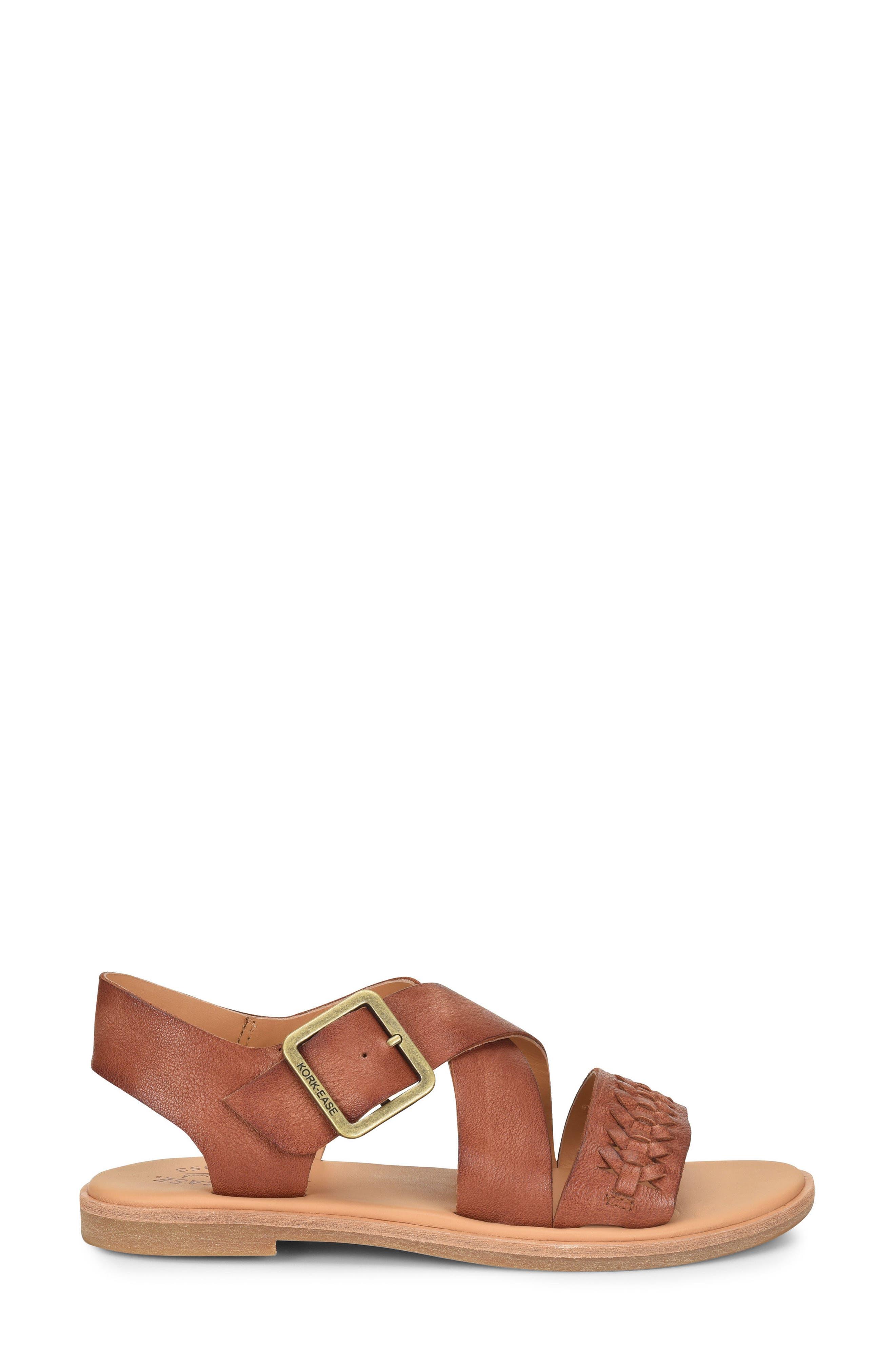 Nara Braid Sandal,                             Alternate thumbnail 3, color,                             BROWN LEATHER