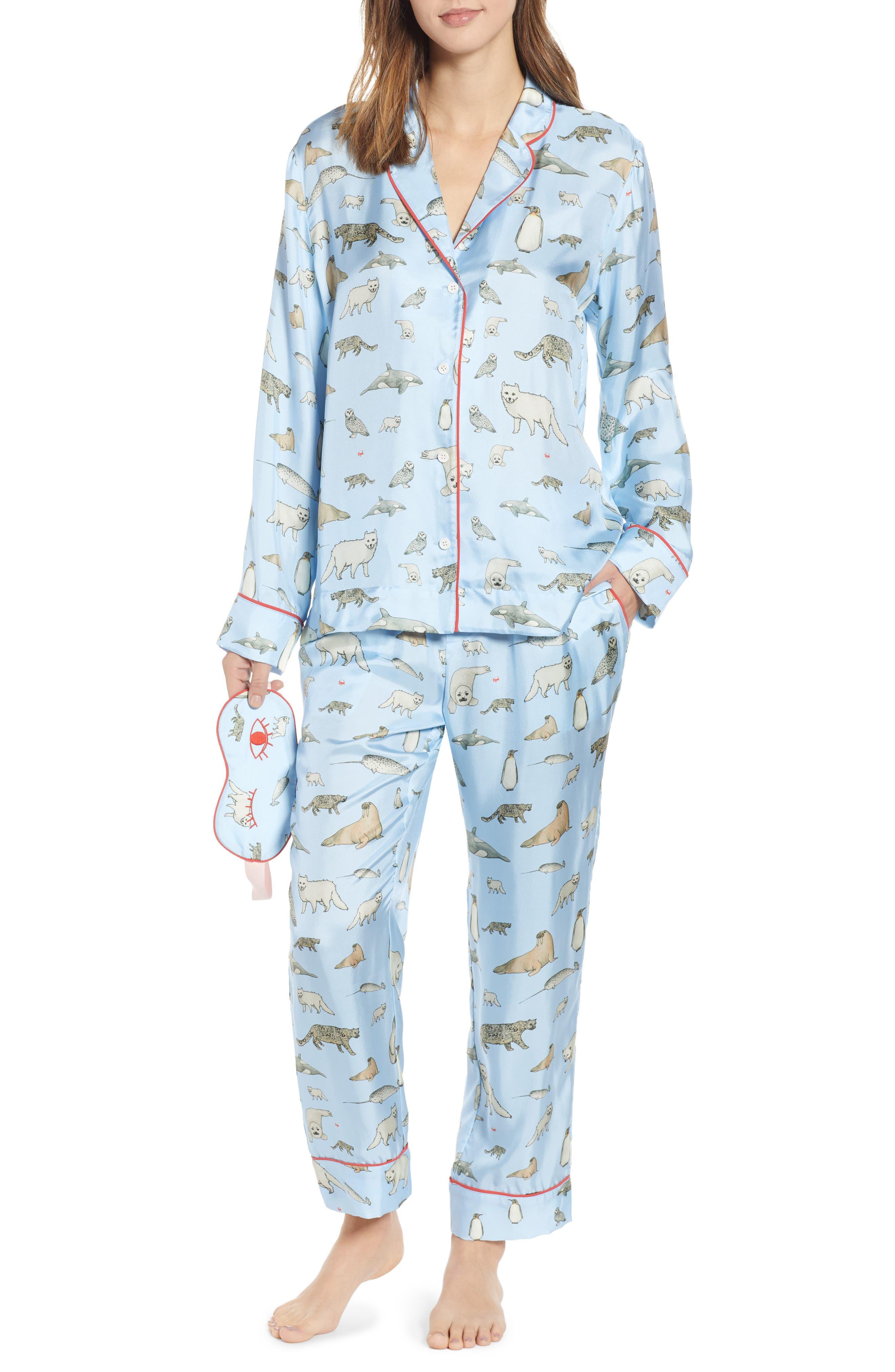 Winter Animals Pajamas & Eye Mask,                             Main thumbnail 1, color,                             LIGHT BLUE