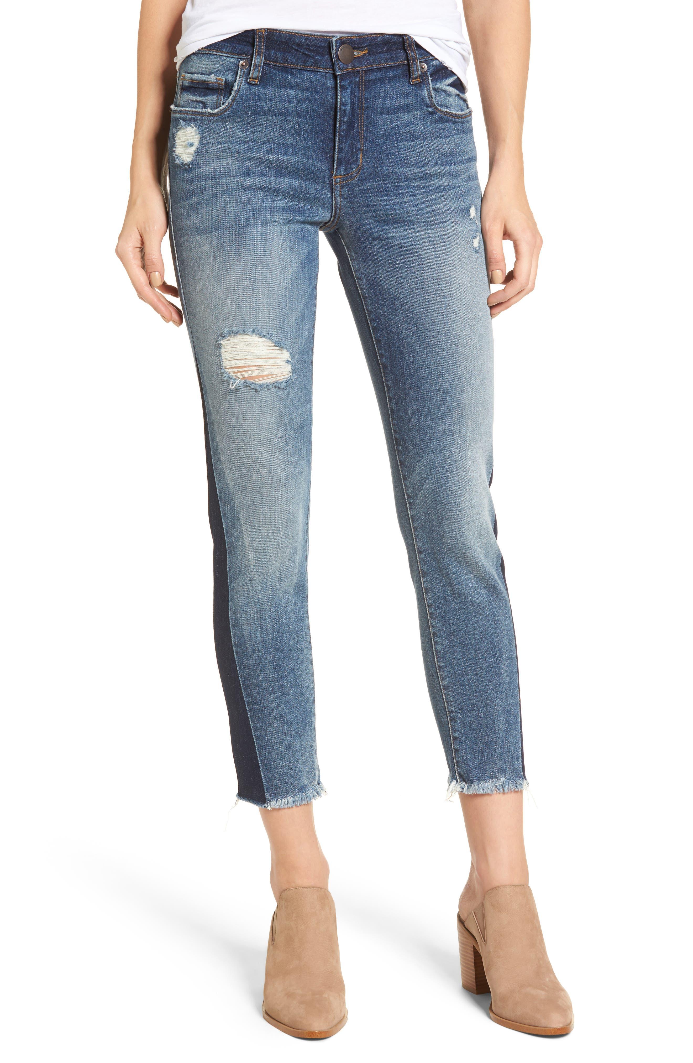 Taylor Colorblock Straight Leg Jeans,                             Main thumbnail 1, color,