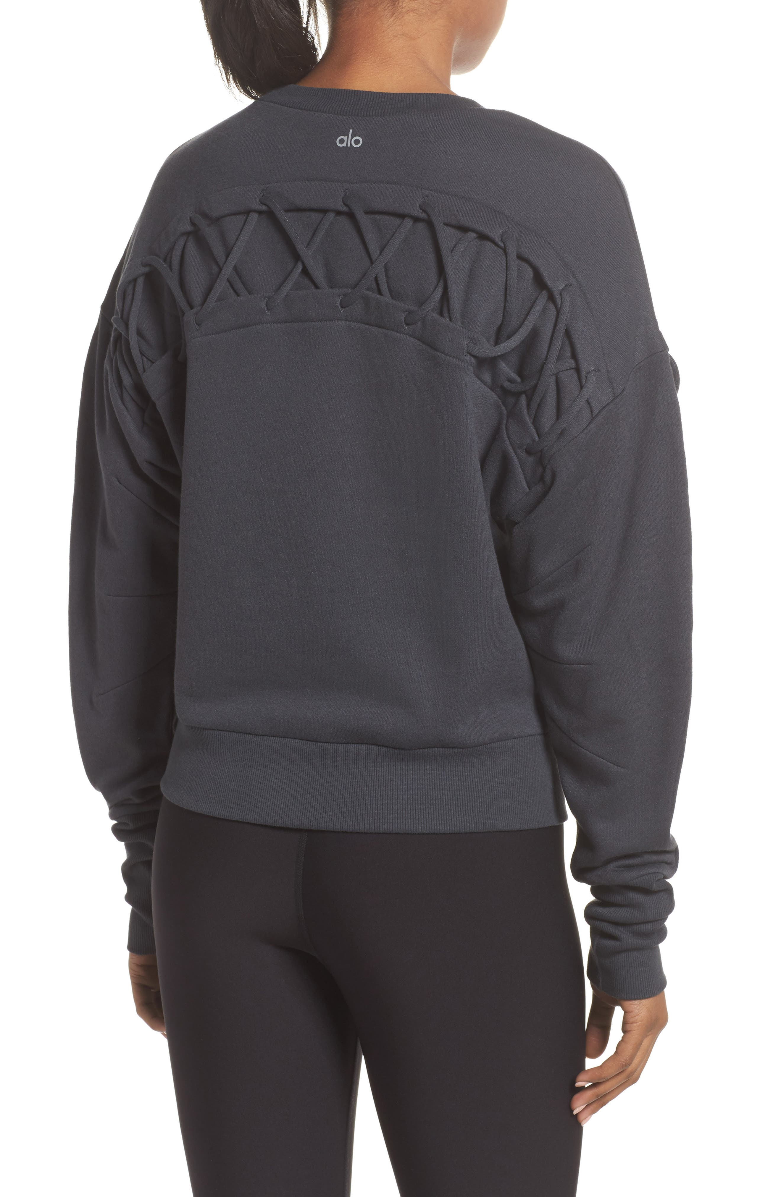 Lattice Long Sleeve Pullover,                             Alternate thumbnail 7, color,