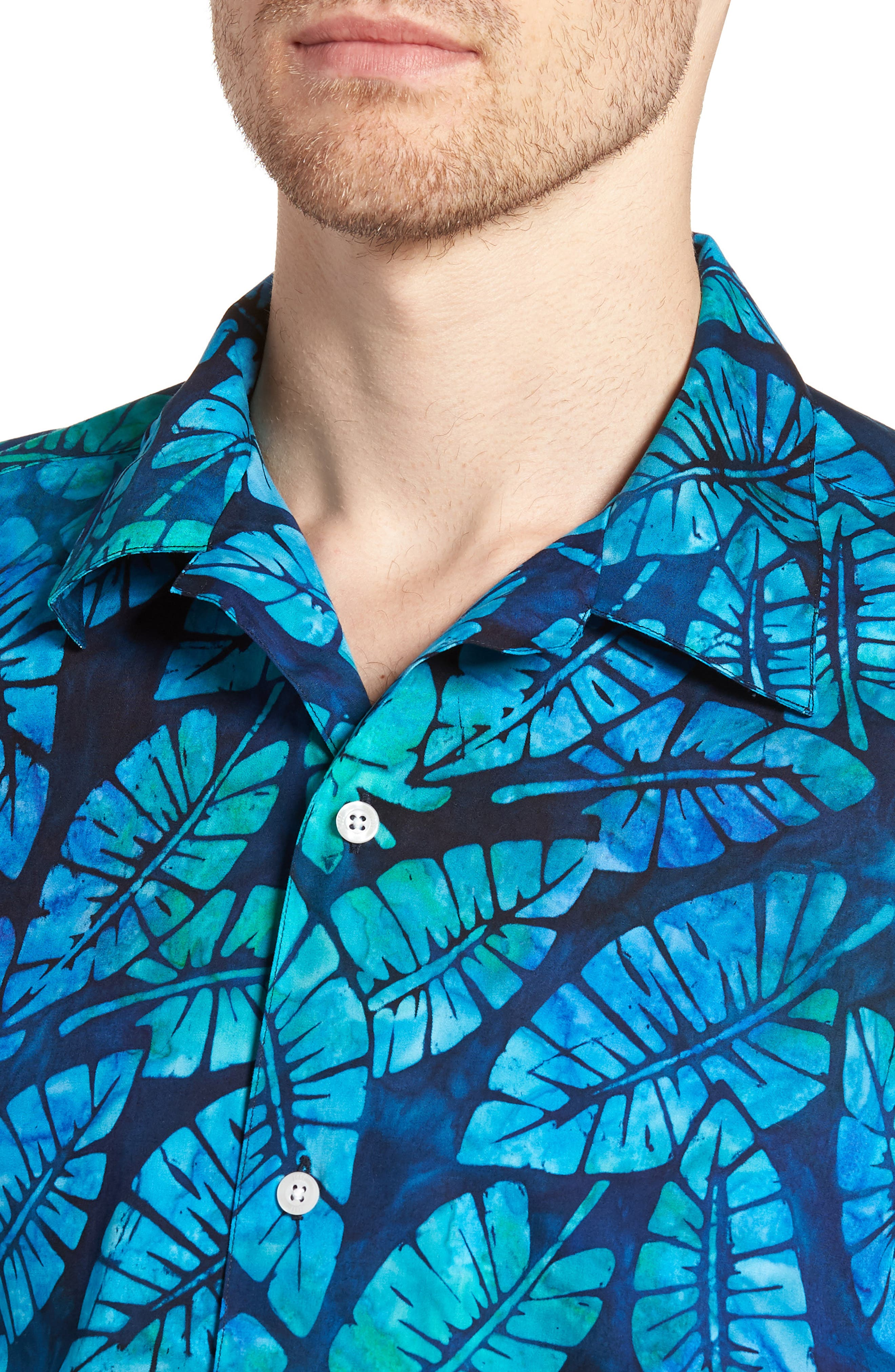 Kailua Trim Fit Print Sport Shirt,                             Alternate thumbnail 4, color,                             GREEN