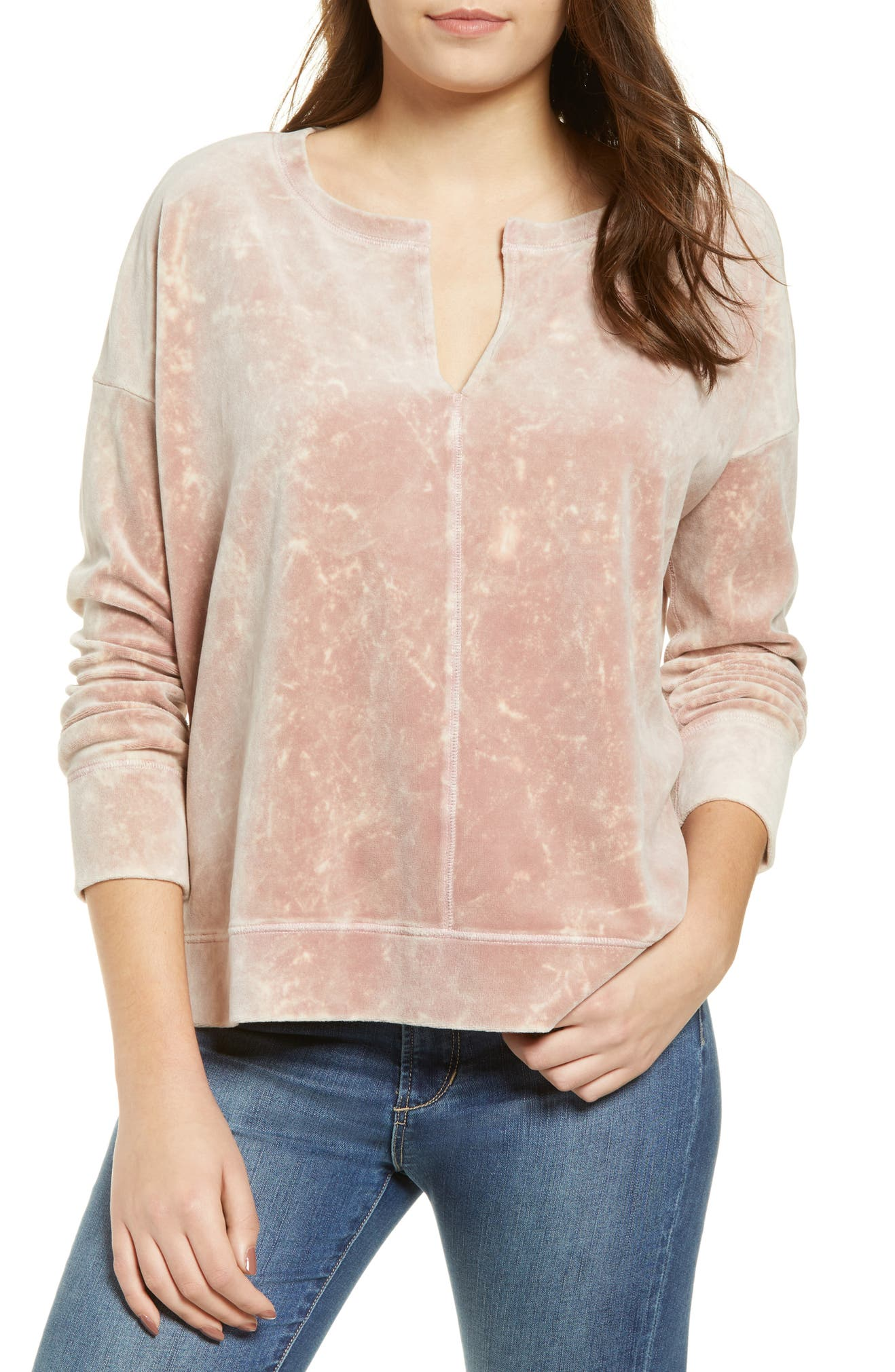 BP. Split Neck Velour Top