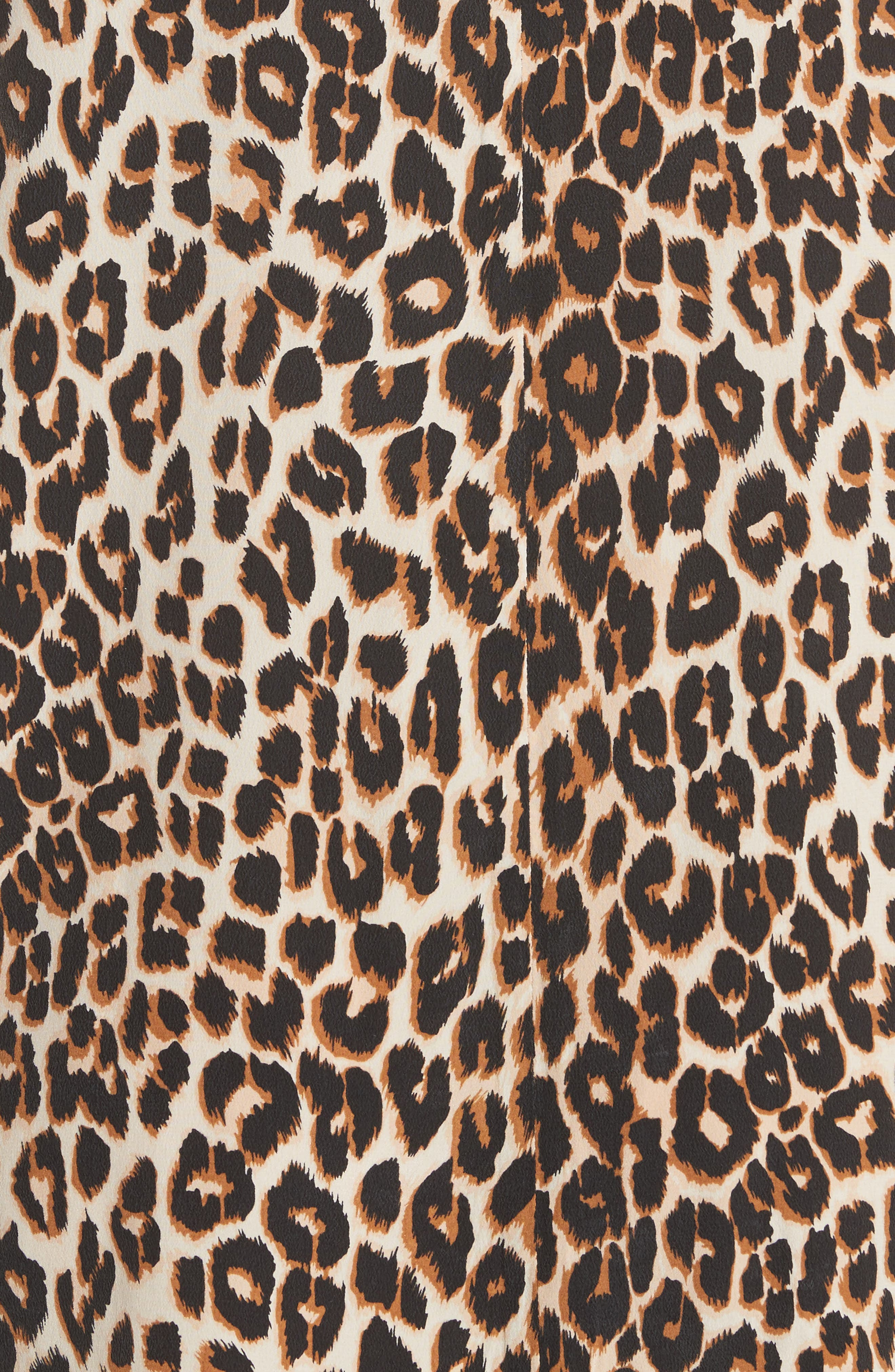 Leopard Print Silk Shift Dress,                             Alternate thumbnail 5, color,                             101
