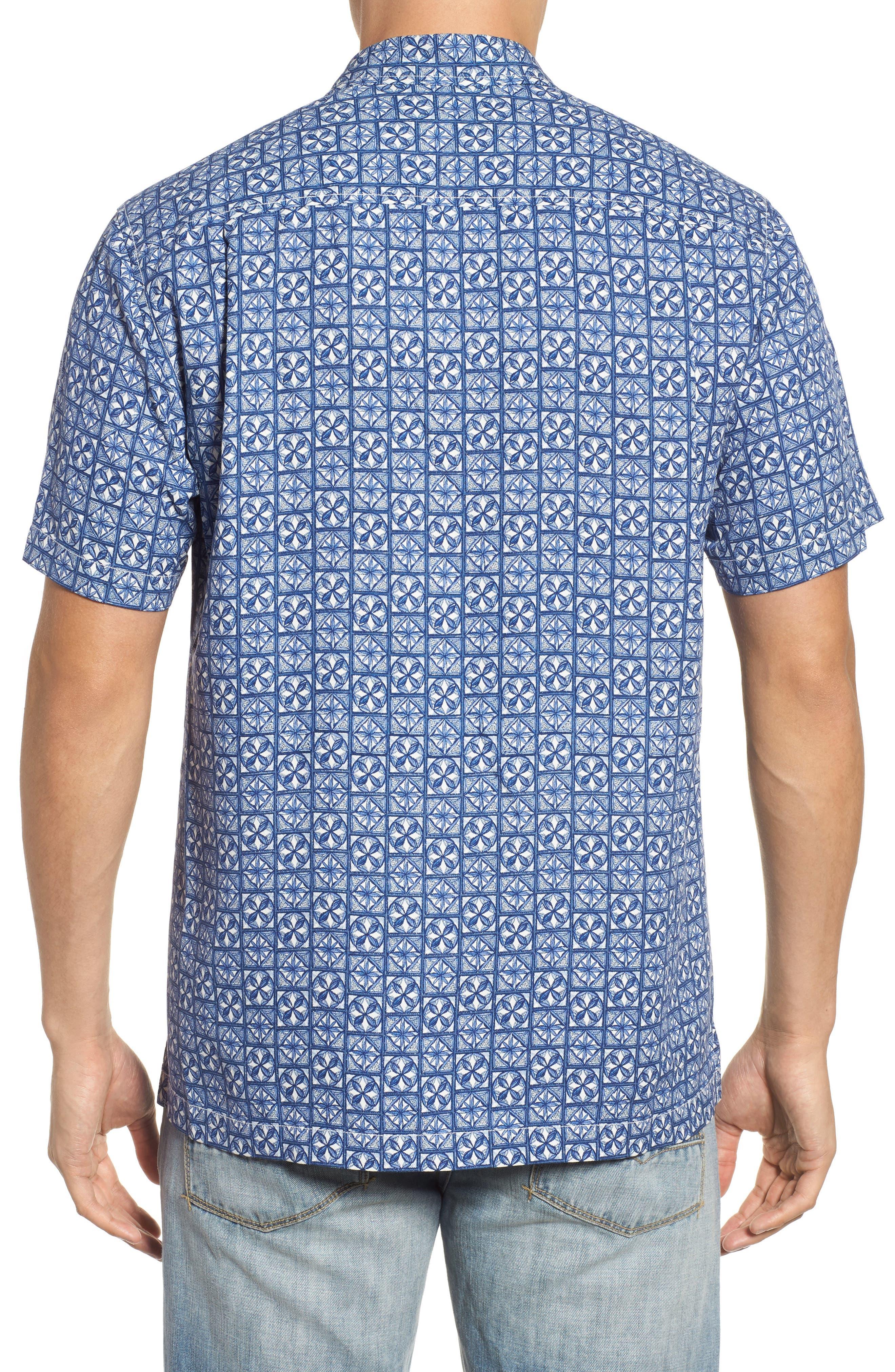 Juno Beach Geo Print Silk Camp Shirt,                             Alternate thumbnail 2, color,                             400