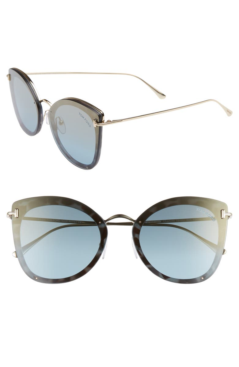 7468928943d1c Tom Ford Charolette 62Mm Oversize Butterfly Sunglasses - Light Blue  Pale  Gold  Gold
