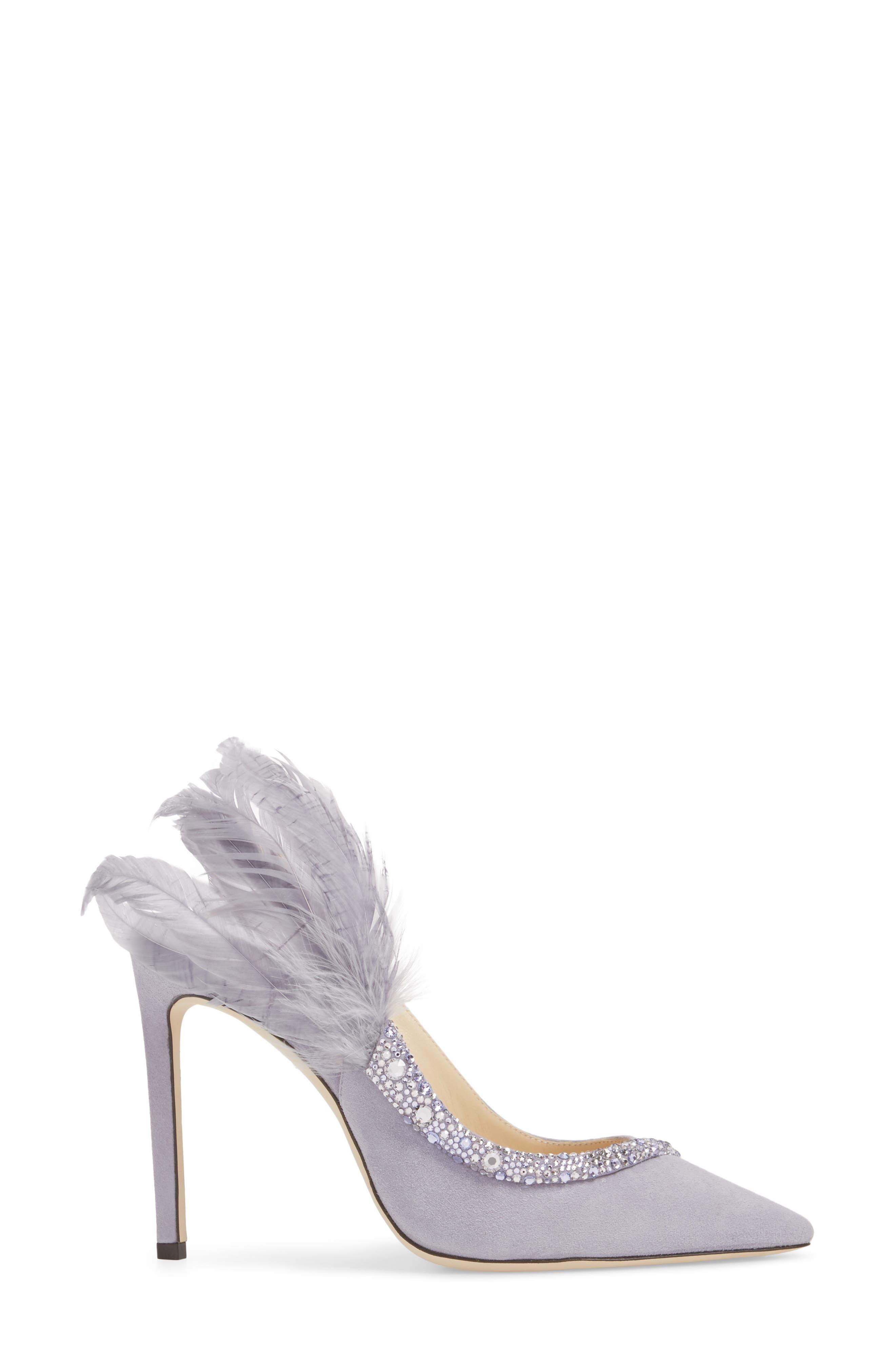 Tacey Crystal & Feather Embellished Slingback Sandal,                             Alternate thumbnail 3, color,                             530