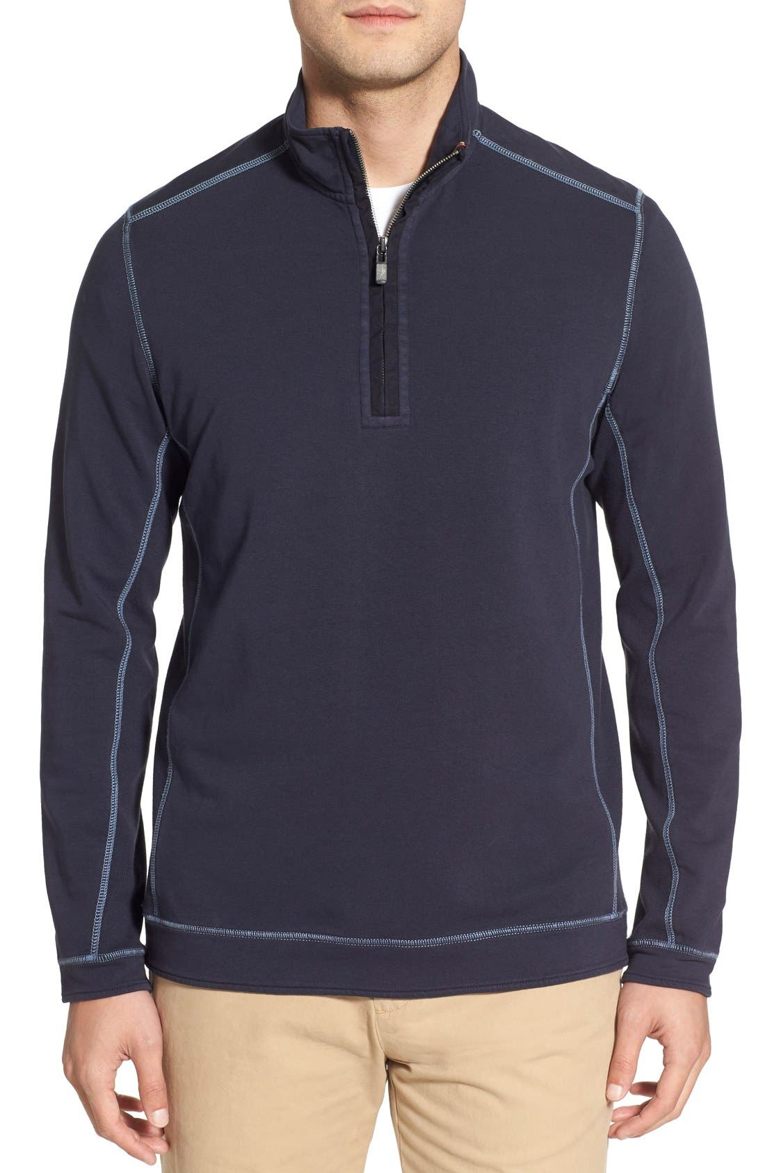 TOMMY BAHAMA 'Ben & Terry' Half Zip Pullover, Main, color, 001