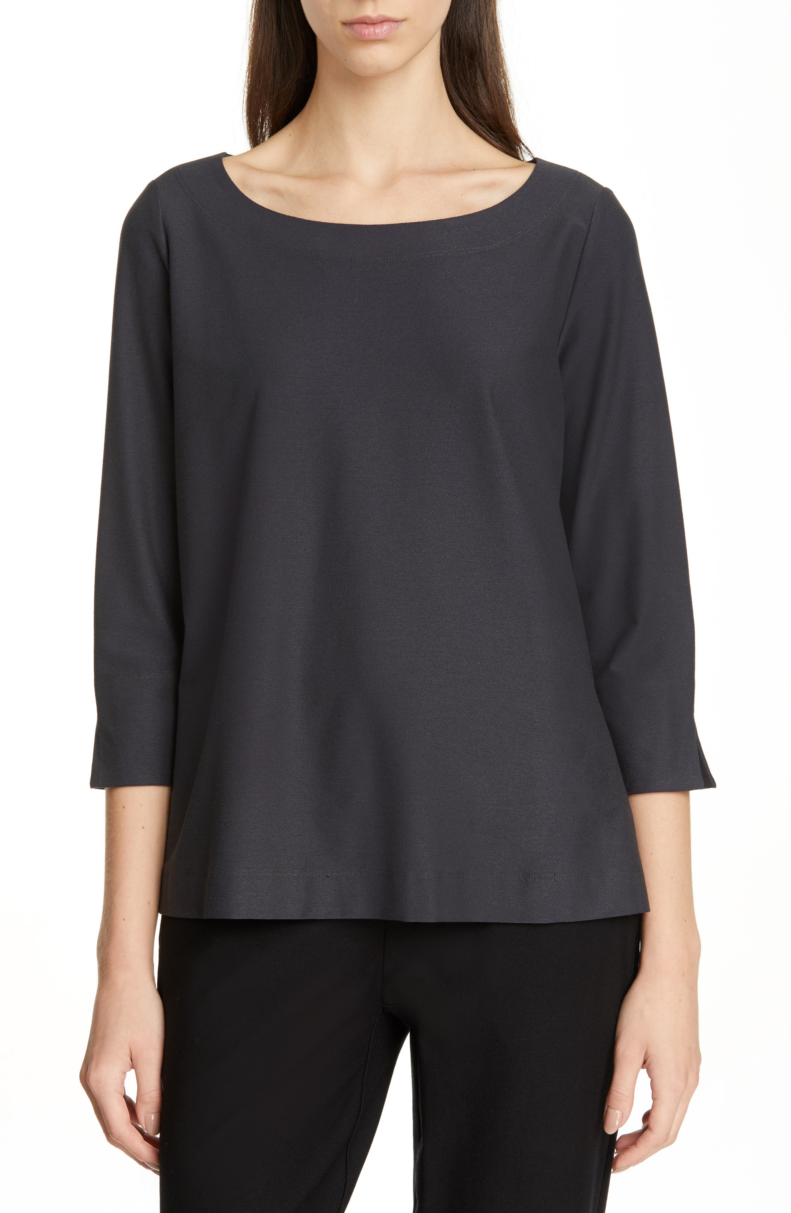 EILEEN FISHER,                             Boxy Jersey Top,                             Main thumbnail 1, color,                             GRAPHITE