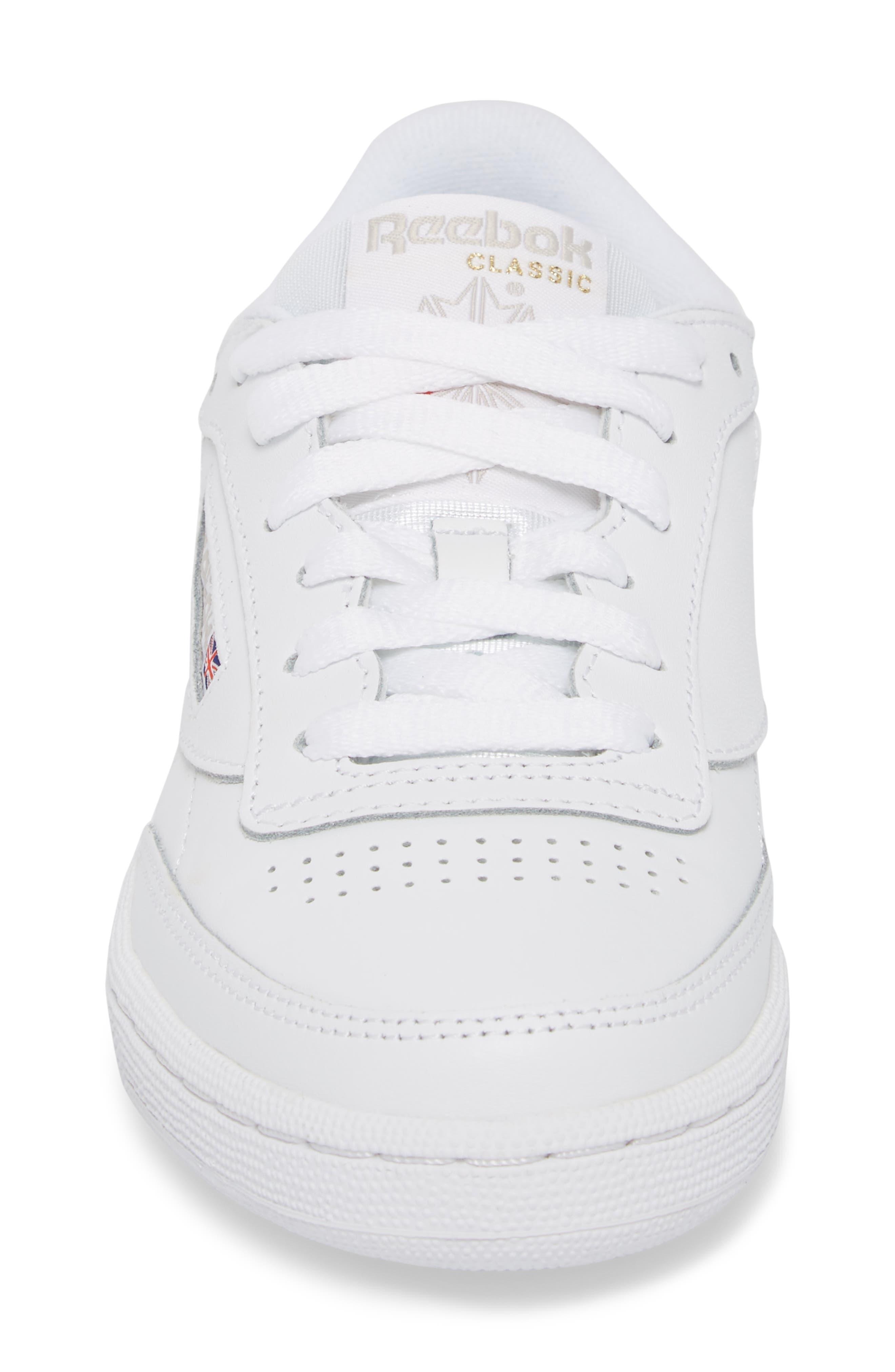 Club C 85 Sneaker,                             Alternate thumbnail 4, color,                             WHITE/ LIGHT GREY