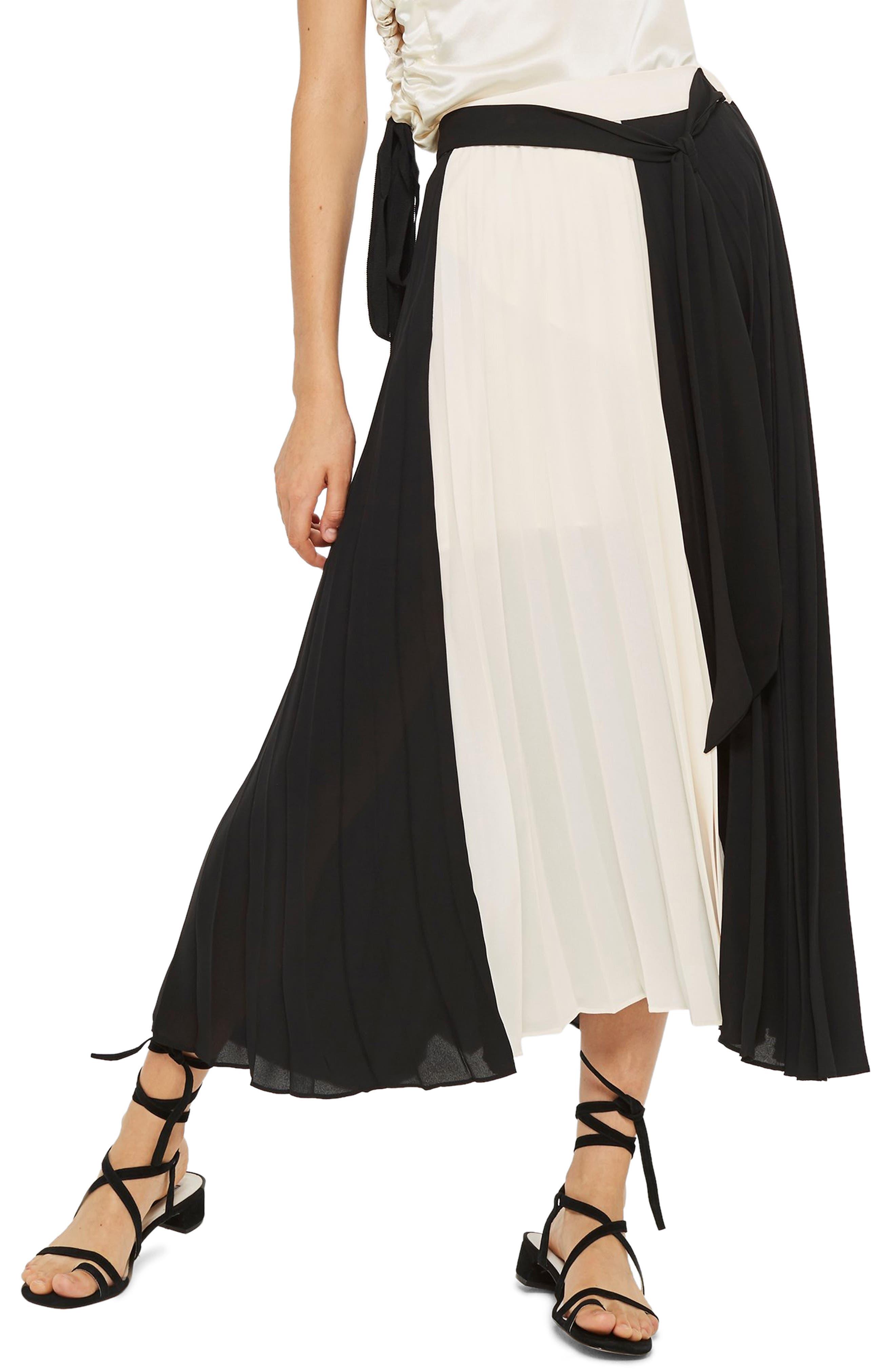 Colorblock Pleated Midi Skirt,                             Main thumbnail 1, color,                             BLACK MULTI