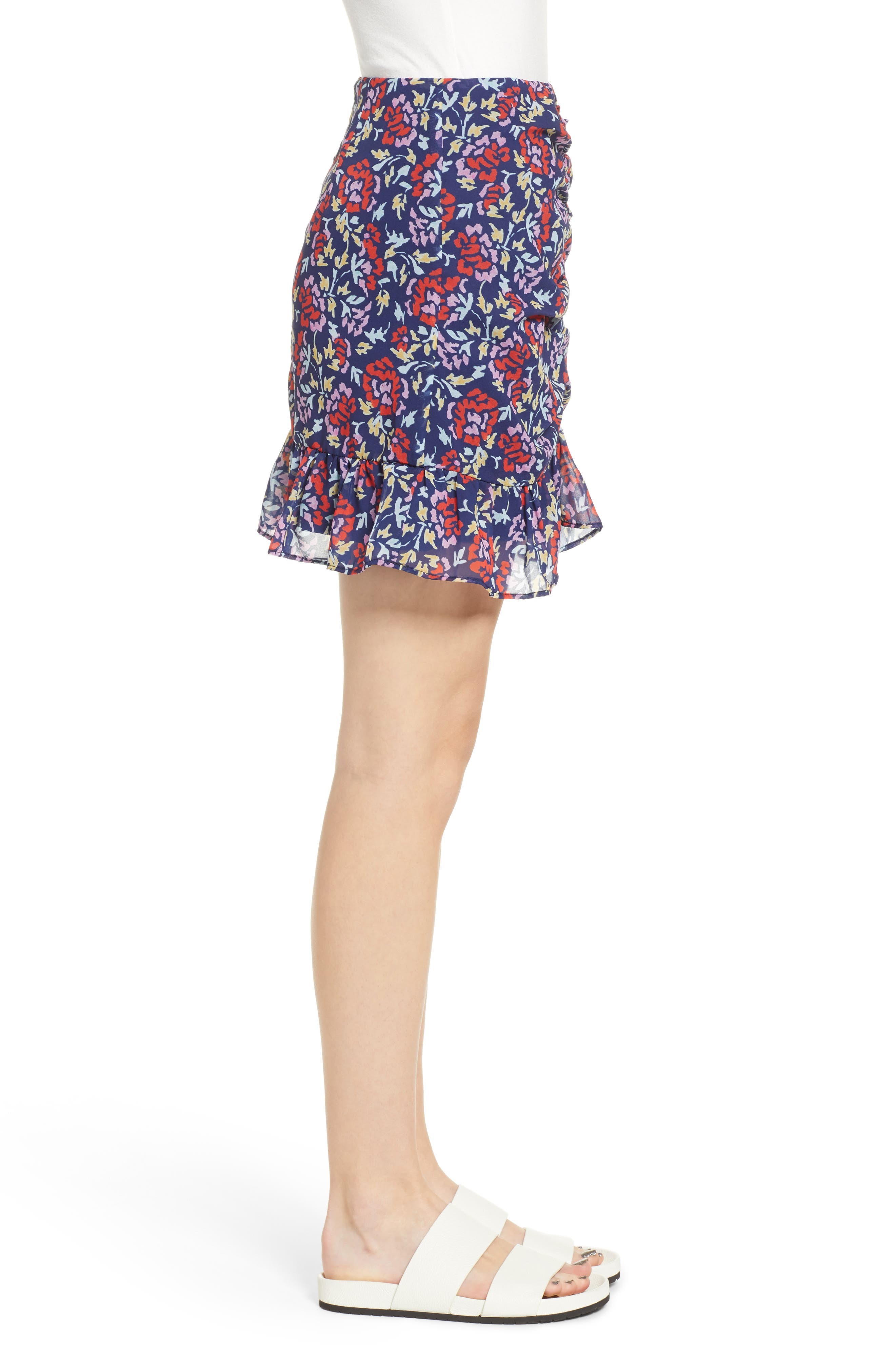 THE FIFTH LABEL,                             Ruched Floral Print Miniskirt,                             Alternate thumbnail 3, color,                             NAVY/ SCARLET WATERCOLOR