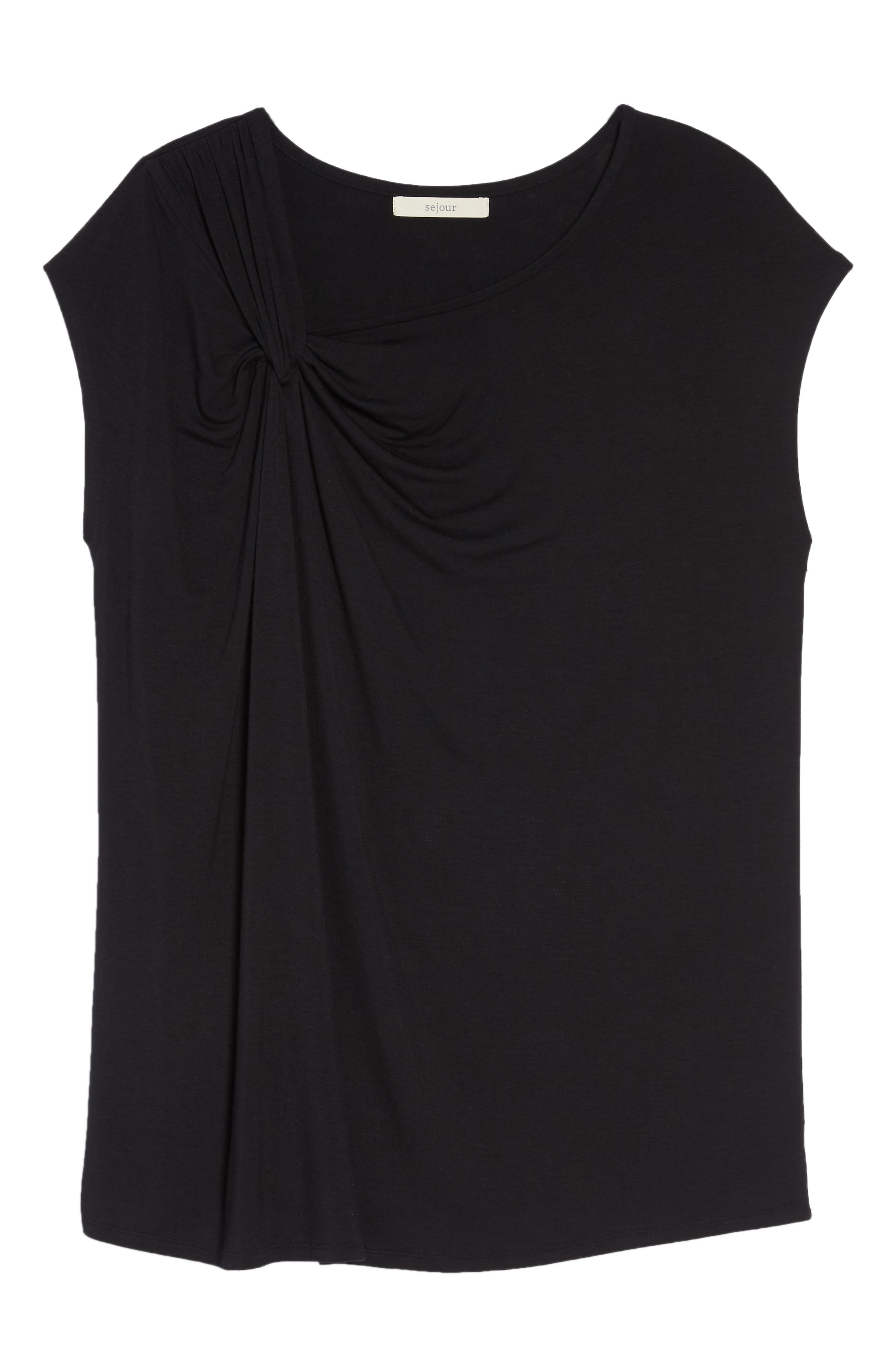 Twisted Neck Cap Sleeve Top,                             Alternate thumbnail 6, color,                             BLACK