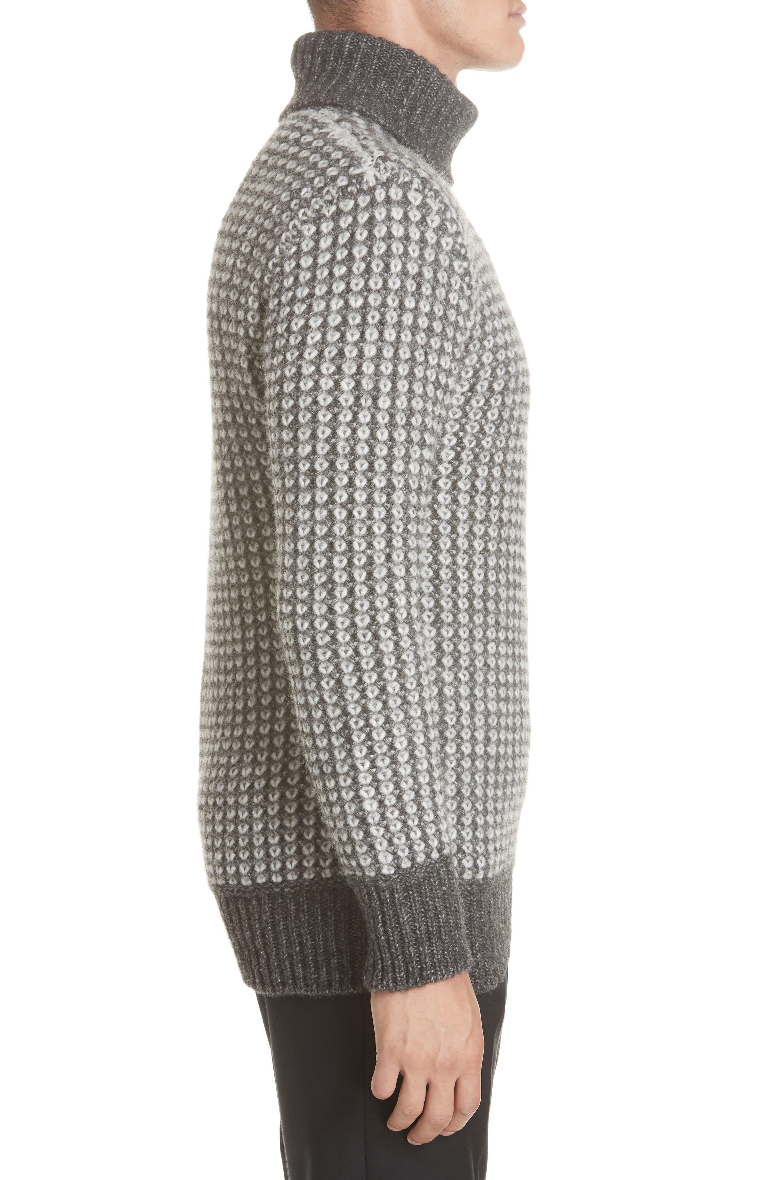 Cotton Blend Turtleneck Sweater,                             Alternate thumbnail 3, color,                             GREY