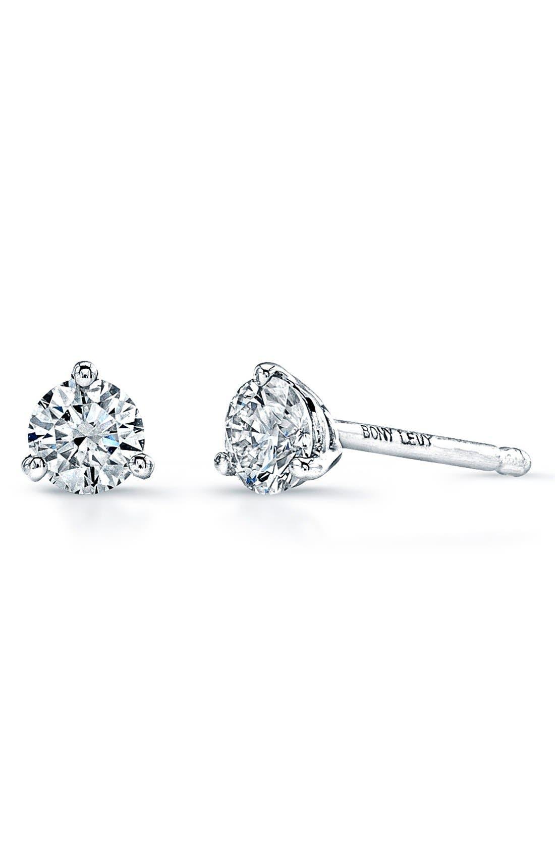 Diamond Stud Earrings,                         Main,                         color, WHITE GOLD