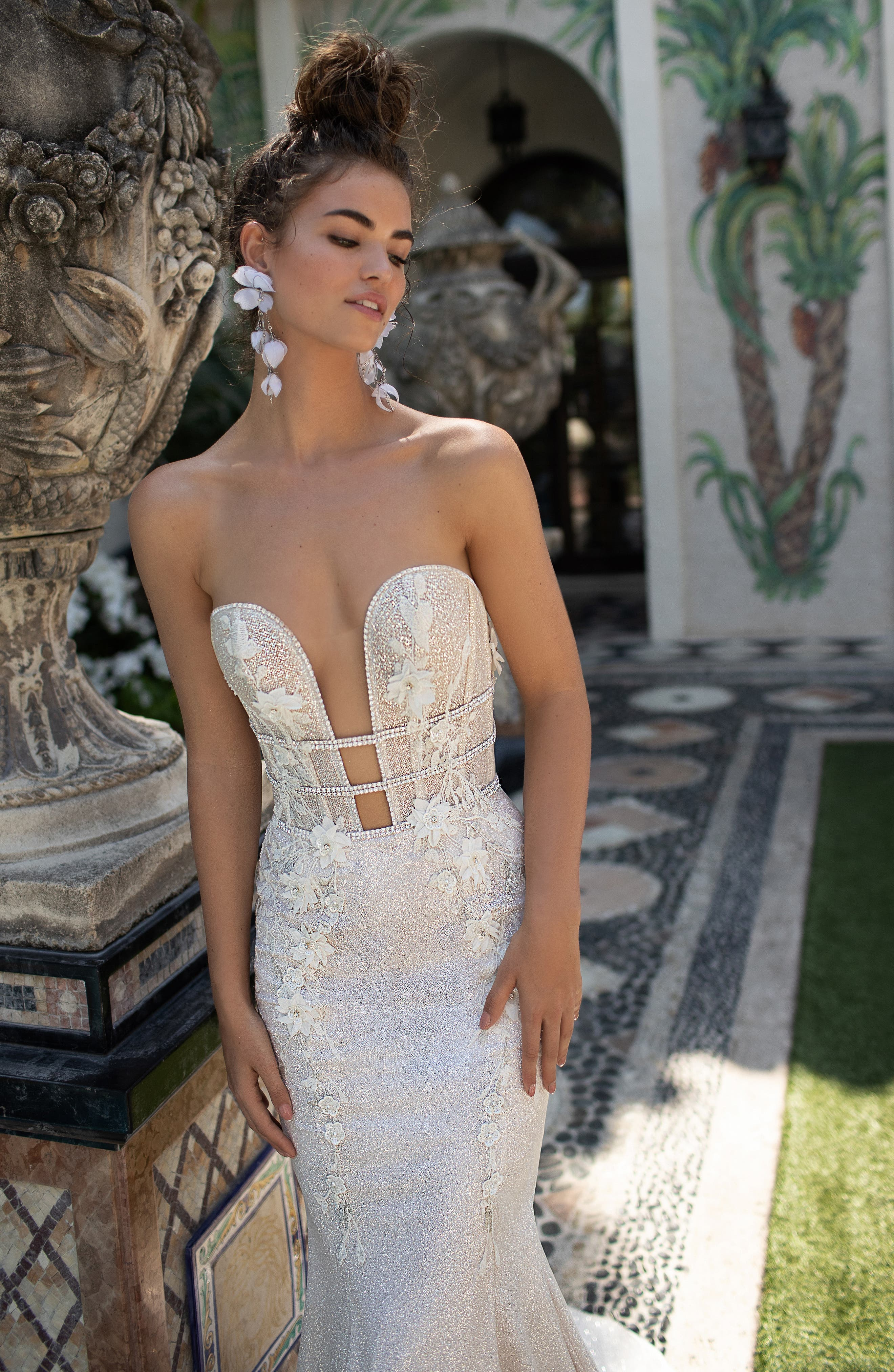 Embellished Strapless Mermaid Gown,                             Alternate thumbnail 3, color,                             IVORY
