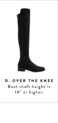 "Over-the-knee boot shaft height is 18"" or higher."