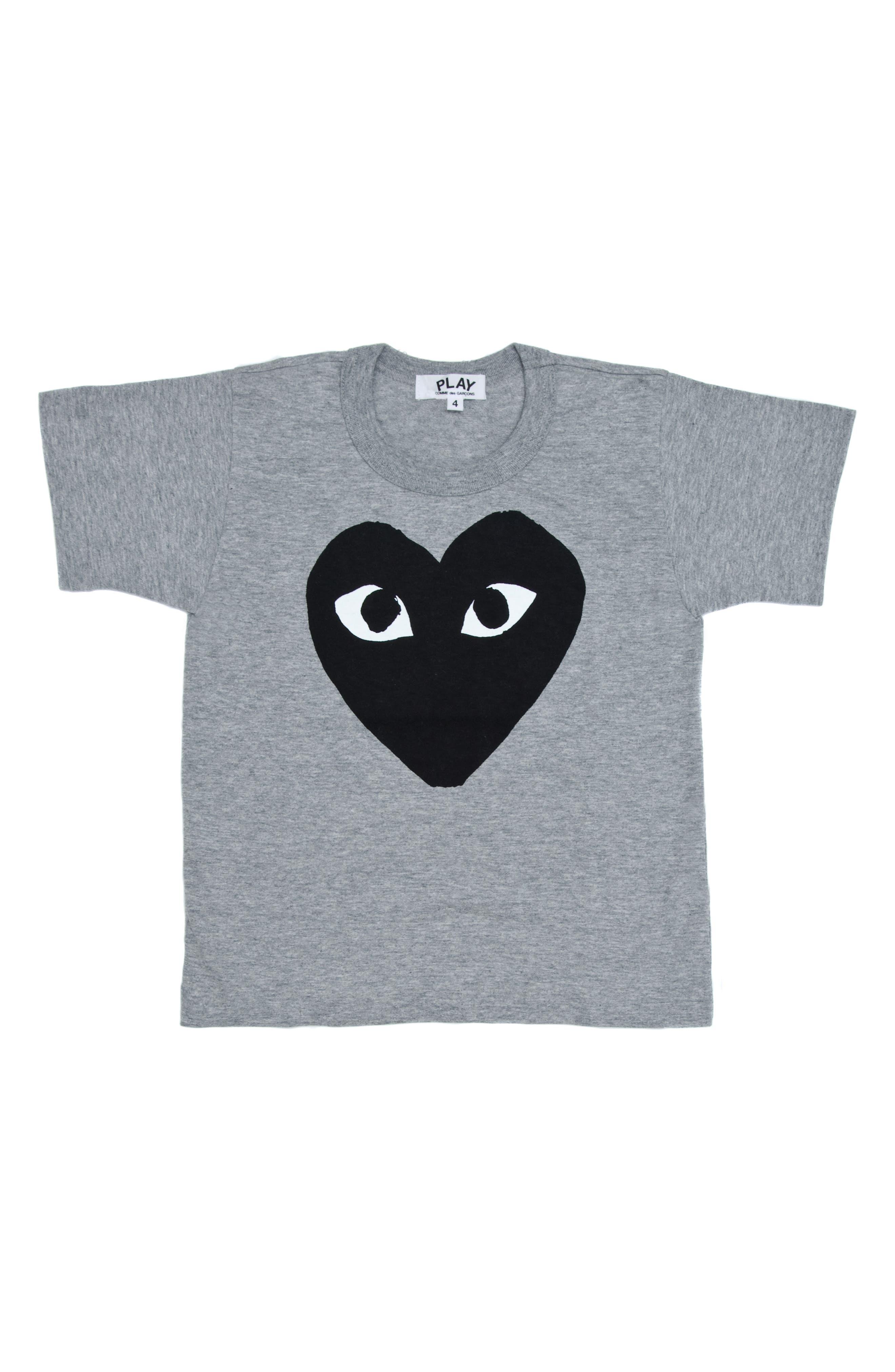 Comme de Garçons PLAY Black Heart Graphic T-Shirt,                             Main thumbnail 1, color,                             GREY