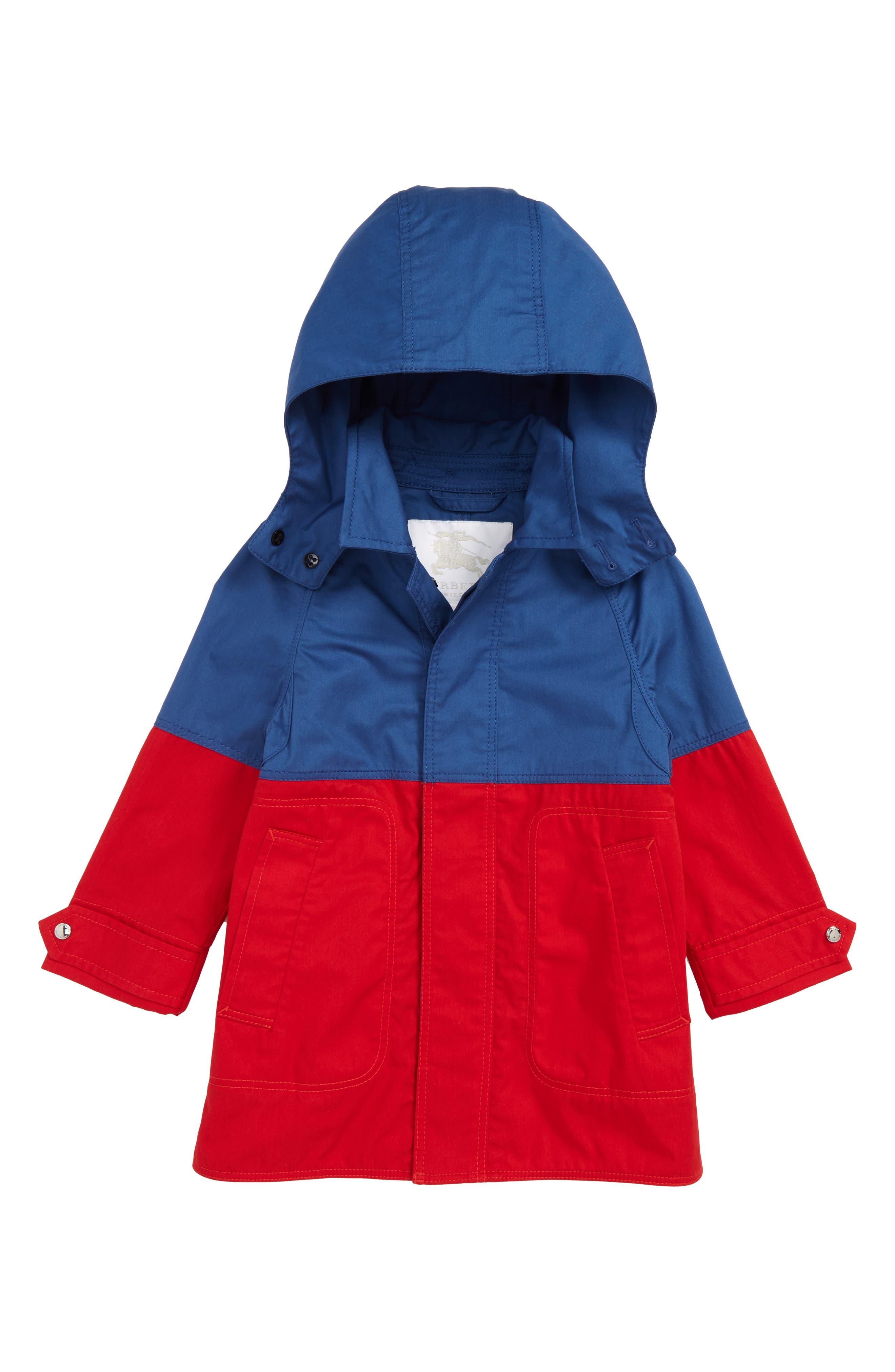 BURBERRY,                             Hunter Color Block Waterproof Hooded Coat,                             Main thumbnail 1, color,                             DUSTY BLUE