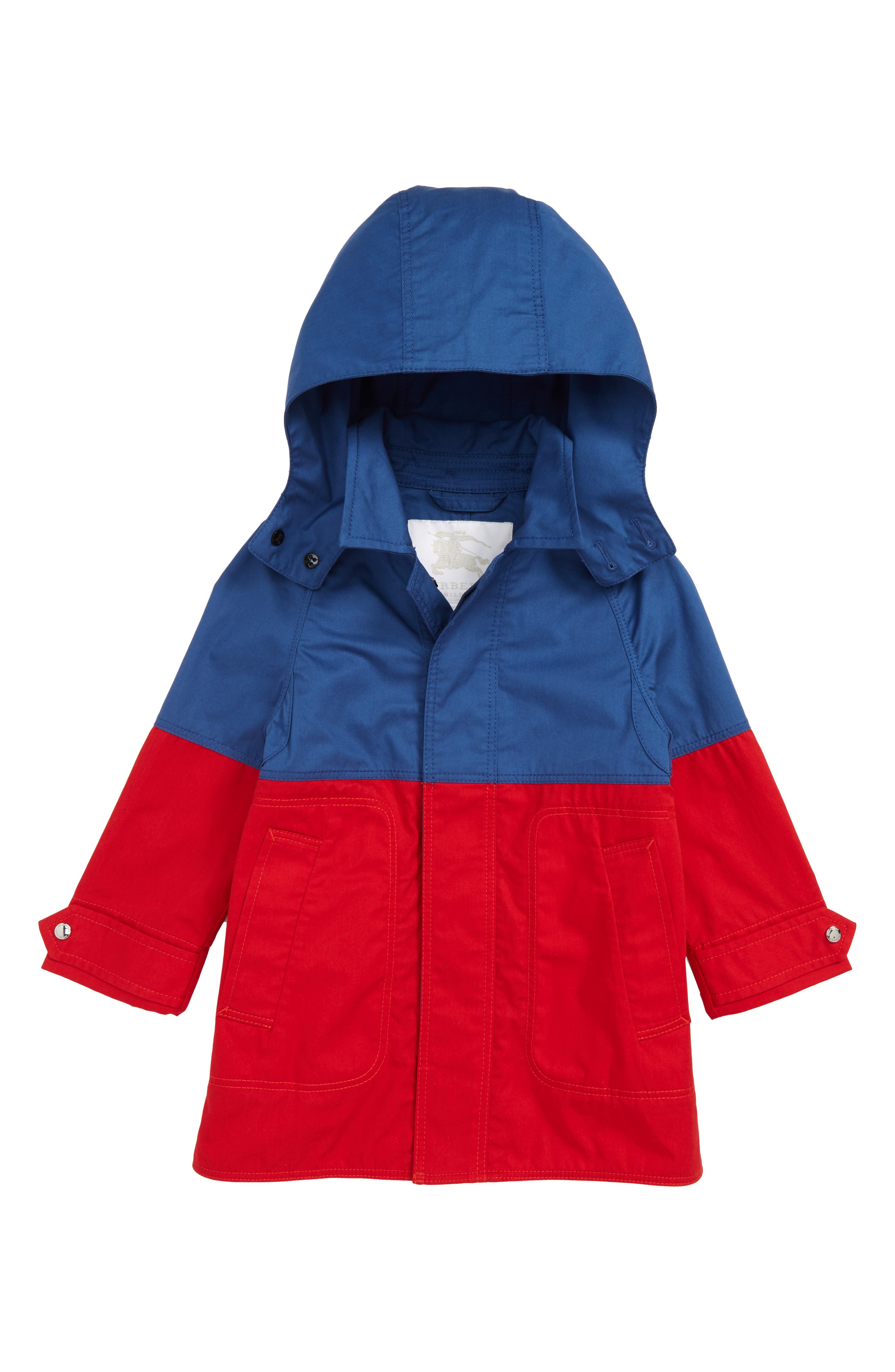 BURBERRY Hunter Color Block Waterproof Hooded Coat, Main, color, DUSTY BLUE