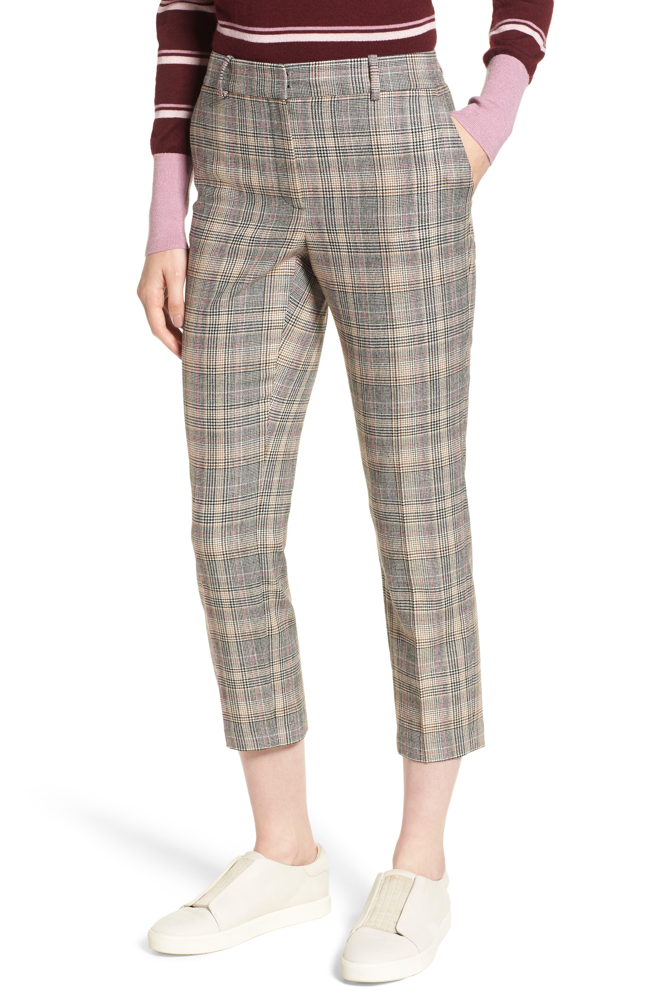 Plaid Slim Leg Crop Pants,                             Main thumbnail 1, color,                             001