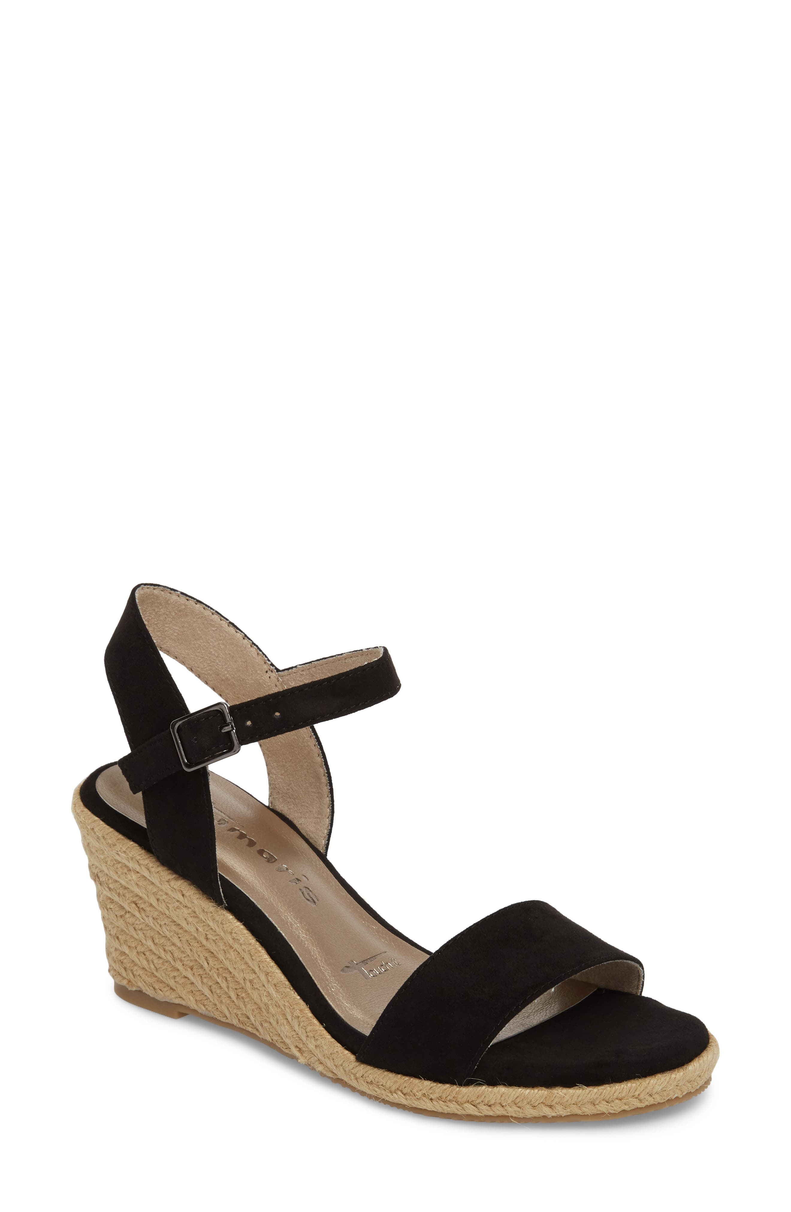 TAMARIS Livia Espadrille Wedge Sandal, Main, color, 002