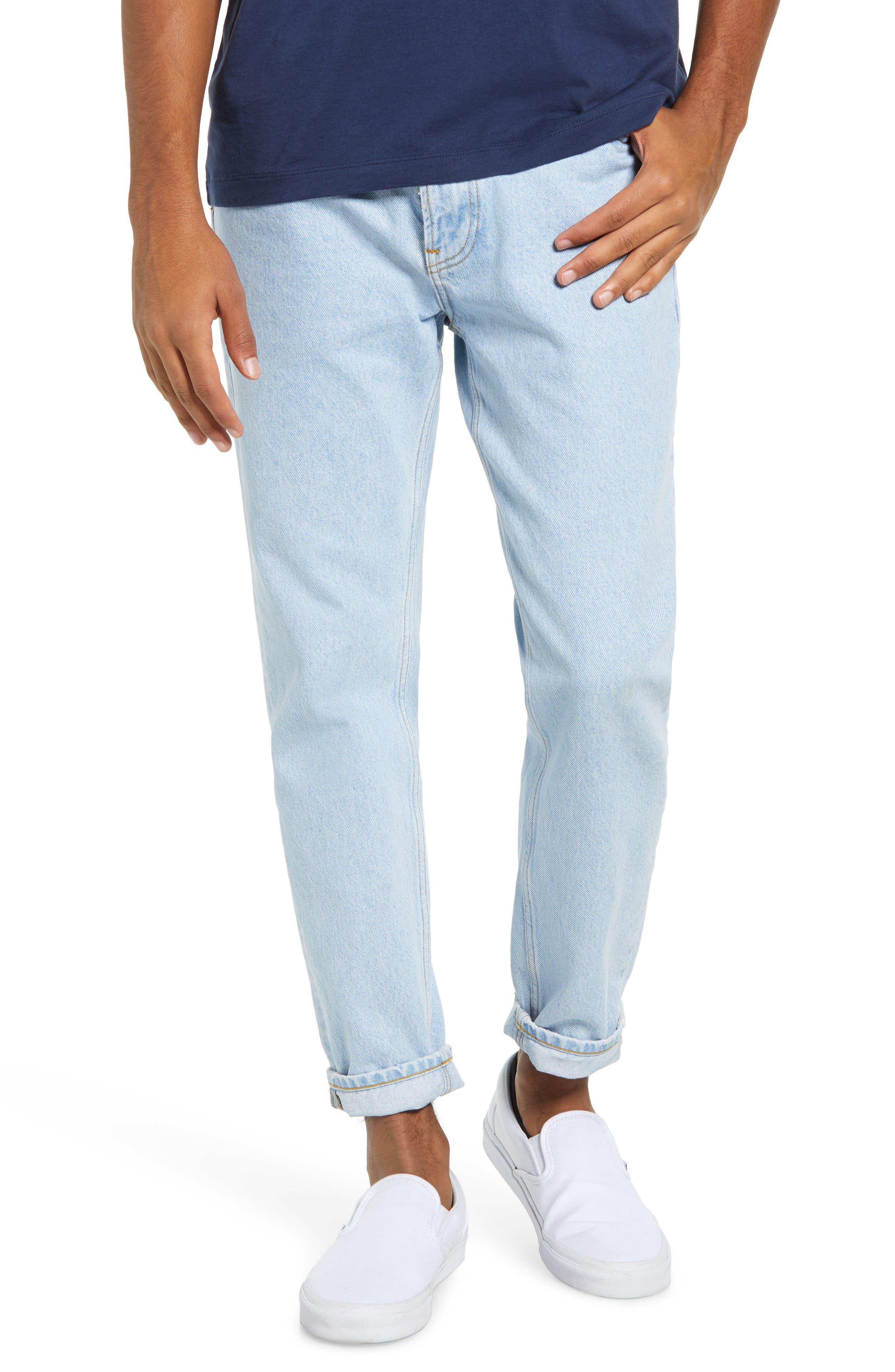 Crest Straight Leg Dad Jeans,                             Main thumbnail 1, color,                             LIGHT BLUE DENIM