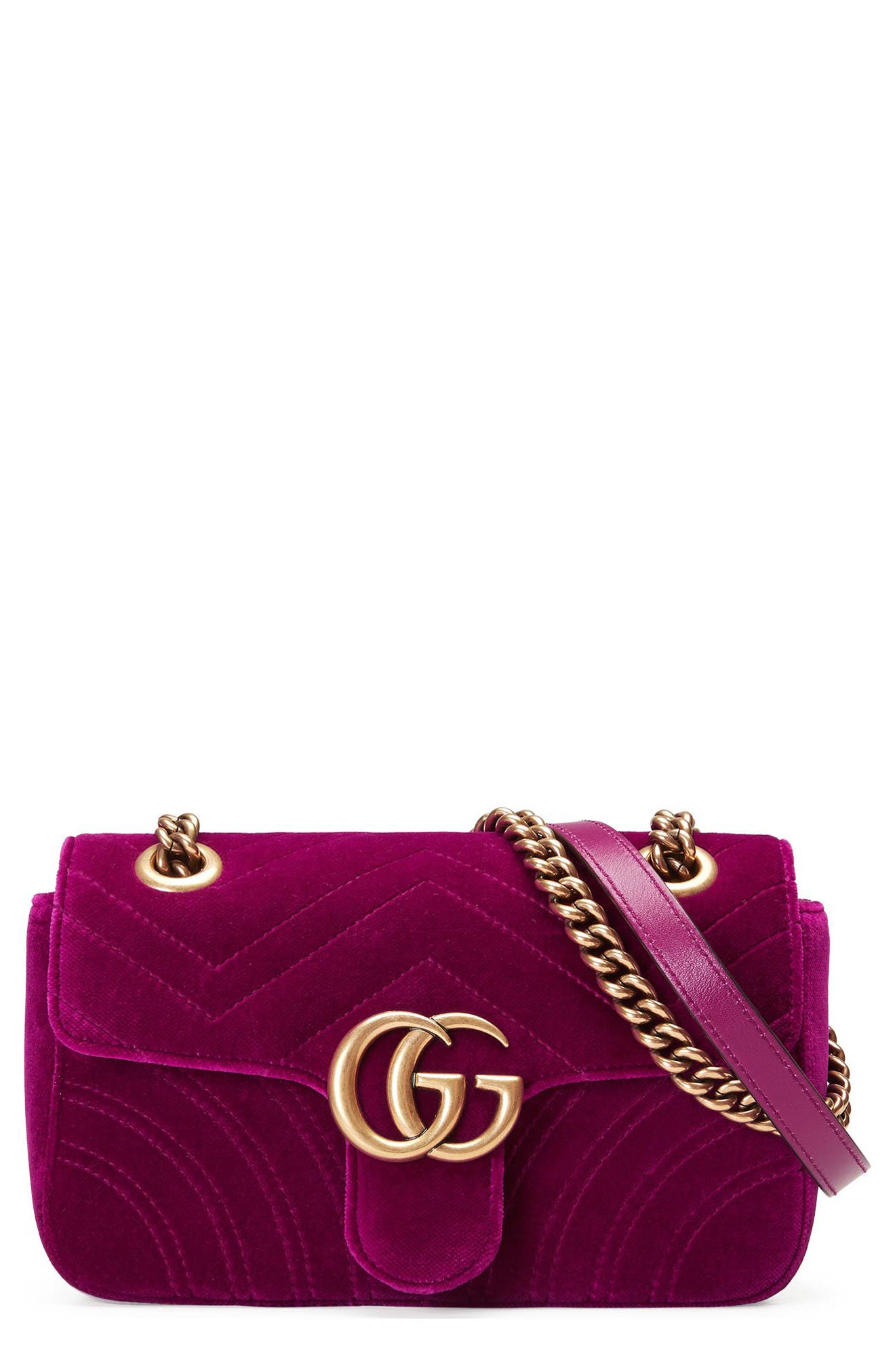 Small GG Marmont 2.0 Matelassé Velvet Shoulder Bag,                             Main thumbnail 1, color,                             FUCSIA