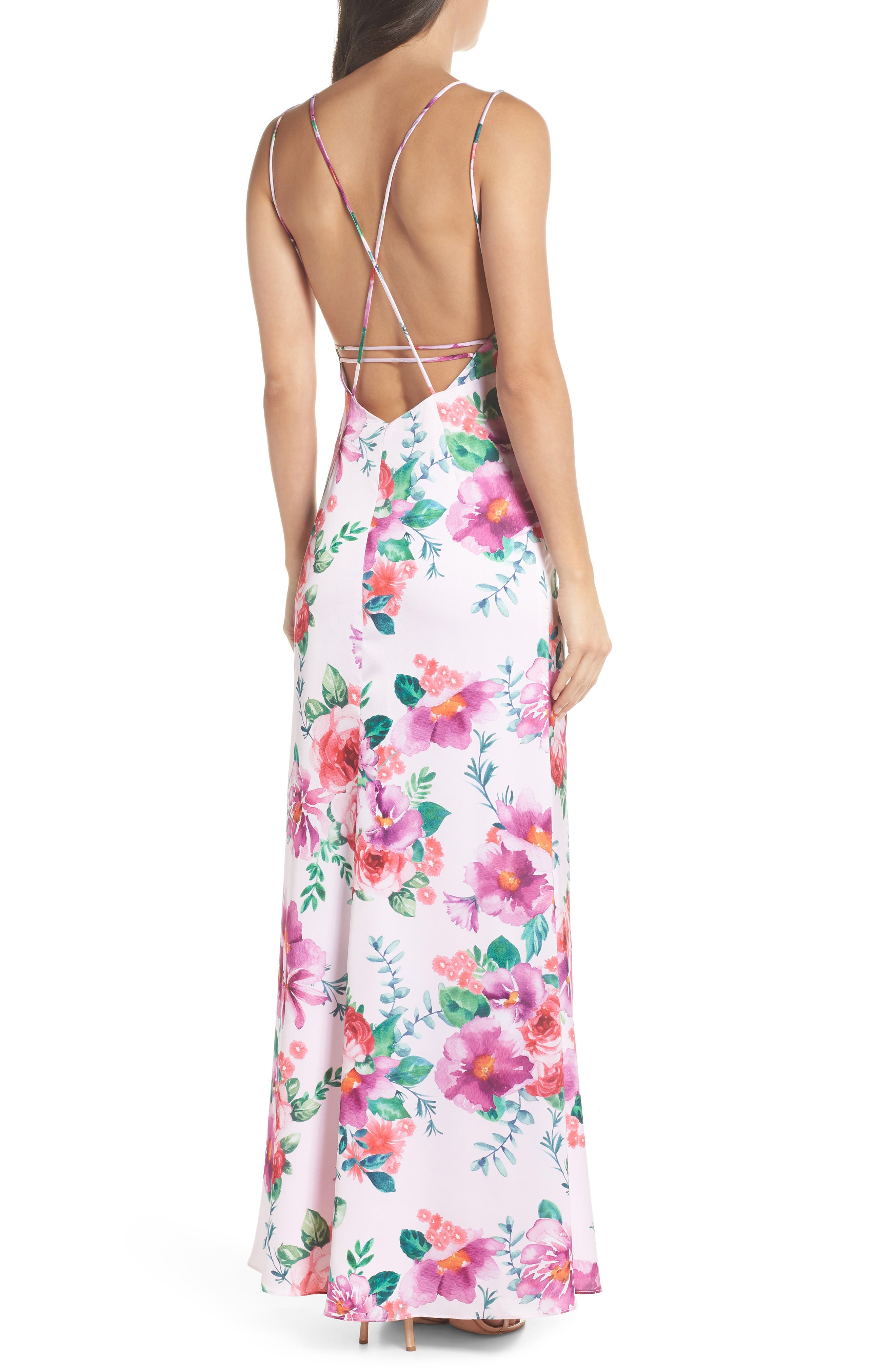 The Rylee Floral Strappy Gown,                             Alternate thumbnail 2, color,                             653