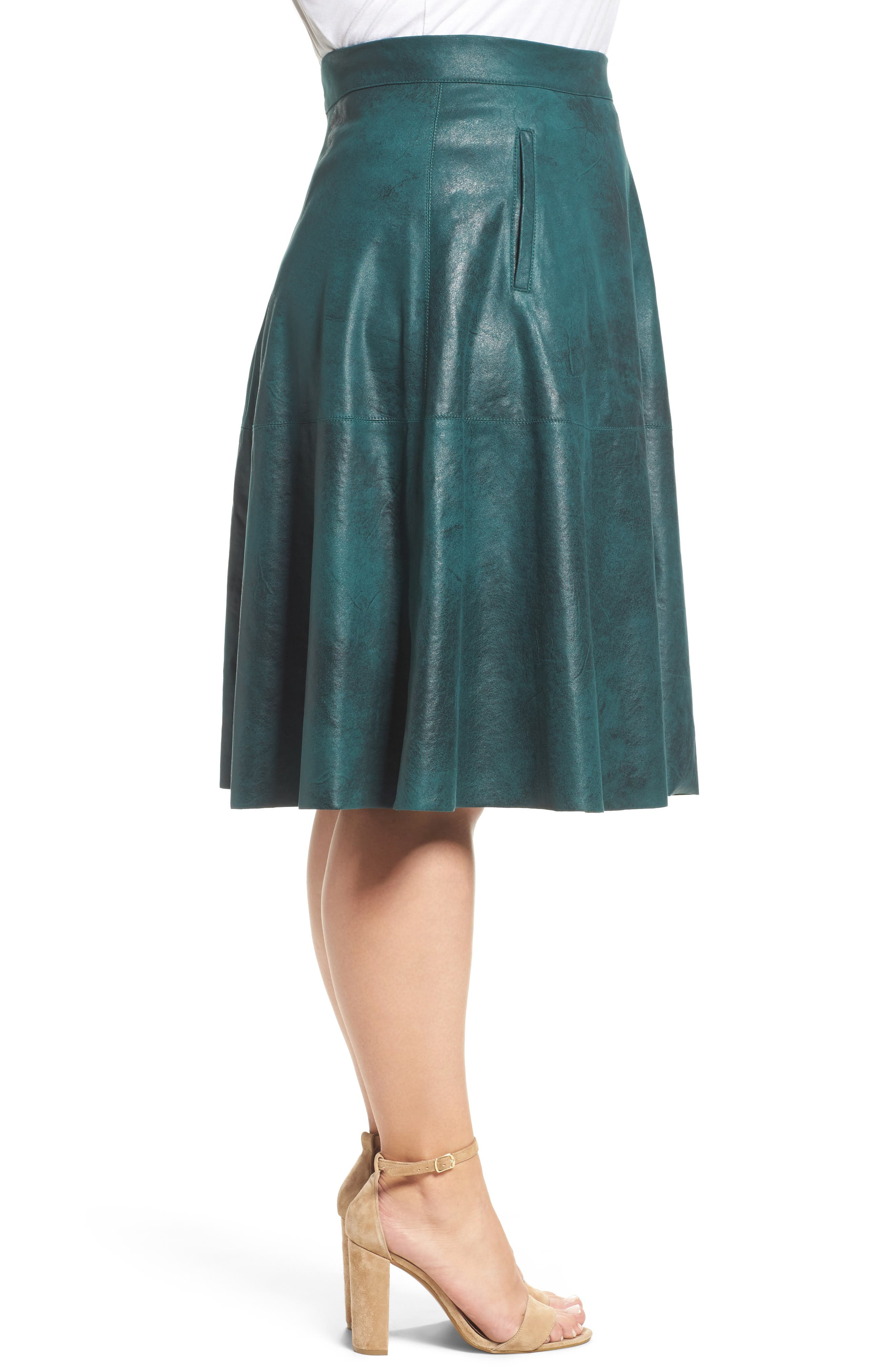 Stretch Faux Leather A-Line Skirt,                             Alternate thumbnail 6, color,